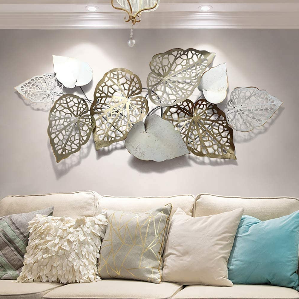 Preferred Family Themed Creative Metal Wall Décor Within Metal Wall Art Creative Handmade Leaves, Nature Home Art Decoration & Modern Light Luxury Kitchen Gifts For Study Living Room Bedroom Artwork Hotel (View 5 of 20)