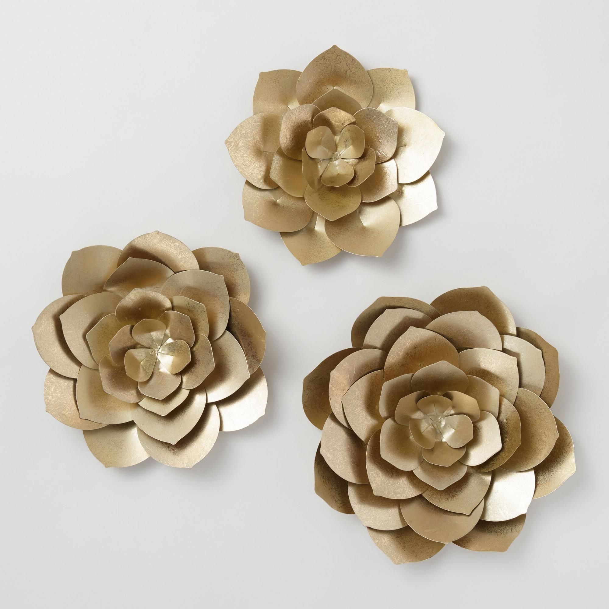 Preferred Gold Metal Flowers Wall Art Set Of 3world Market (View 4 of 20)