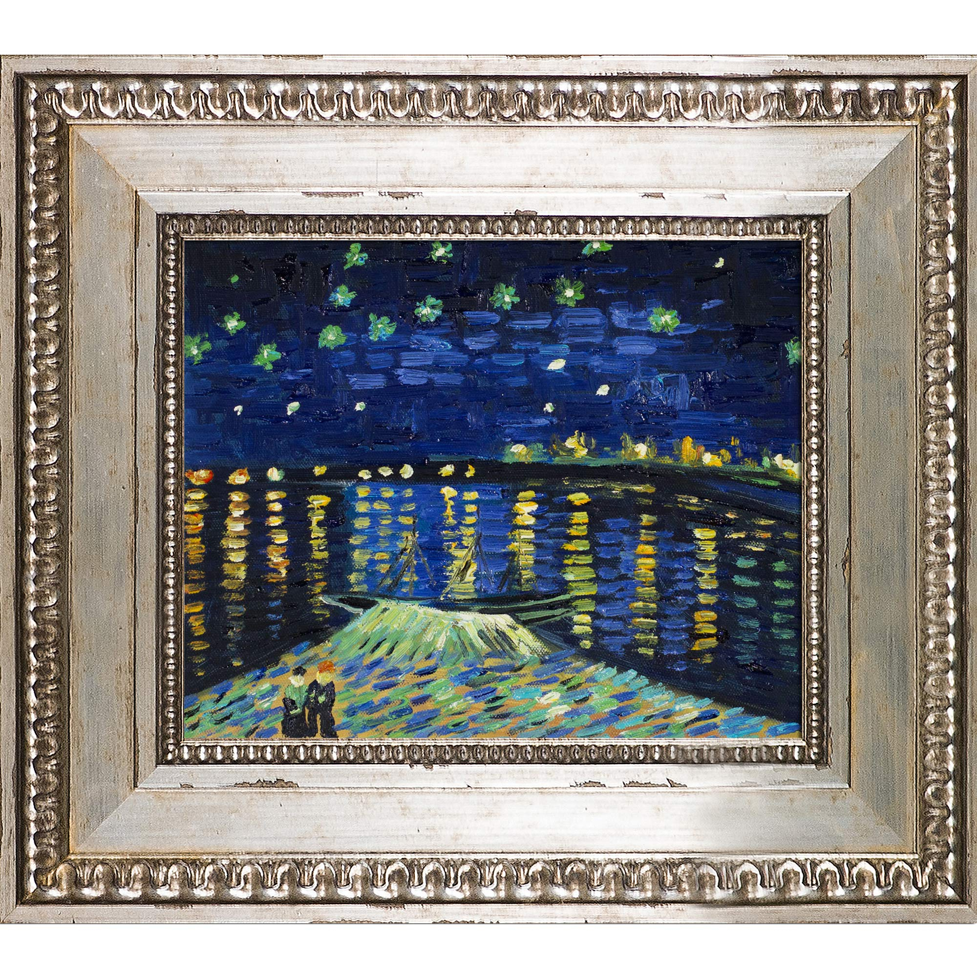 Preferred La Pastiche Starry Night Over The Rhone Framed Oil Painting For Blended Fabric Van Gogh Starry Night Over The Rhone Wall Hangings (View 10 of 20)