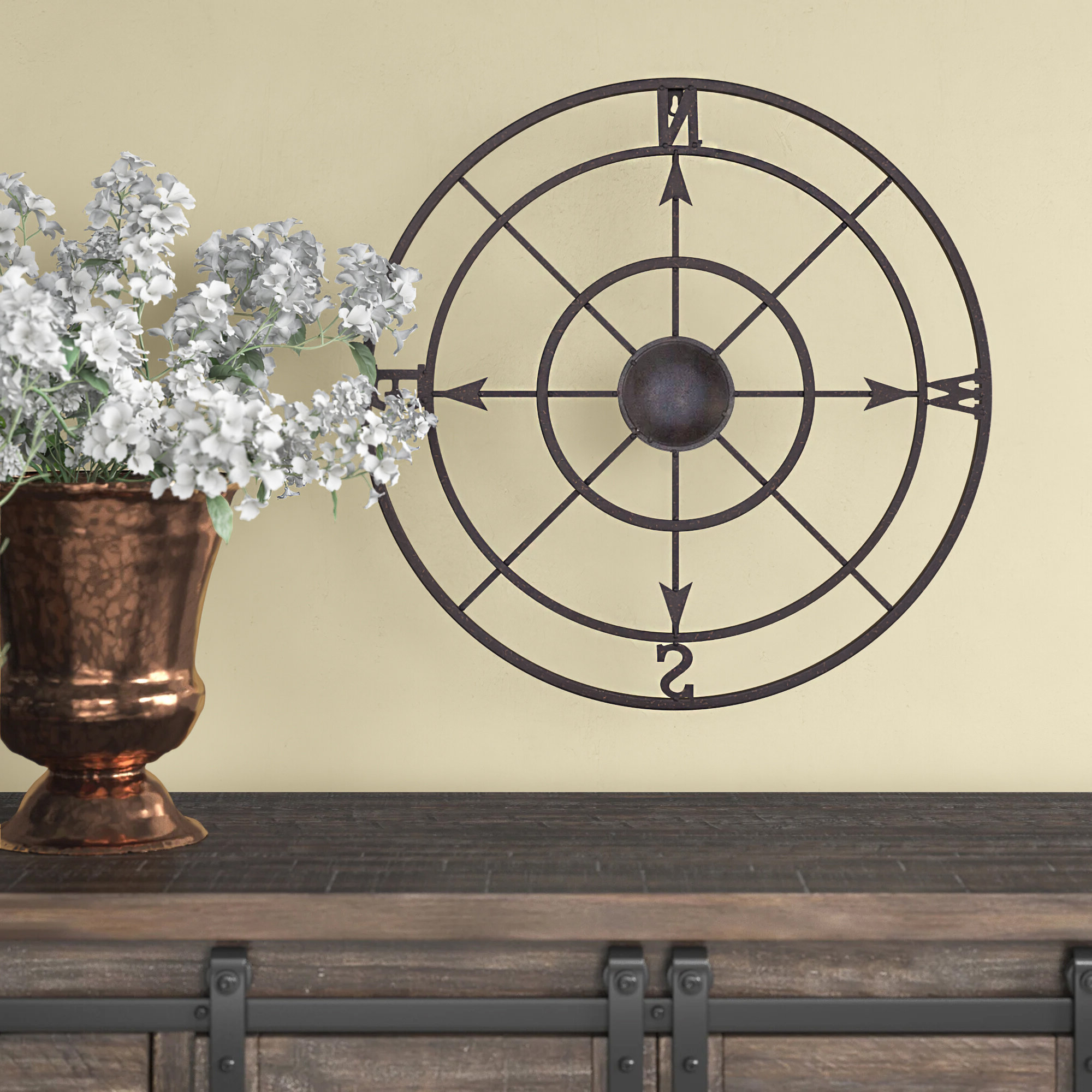 Preferred Nautical Metal Compass Rose Wall Décor Regarding Compass Metal Wall Décor By Beachcrest Home (View 9 of 20)