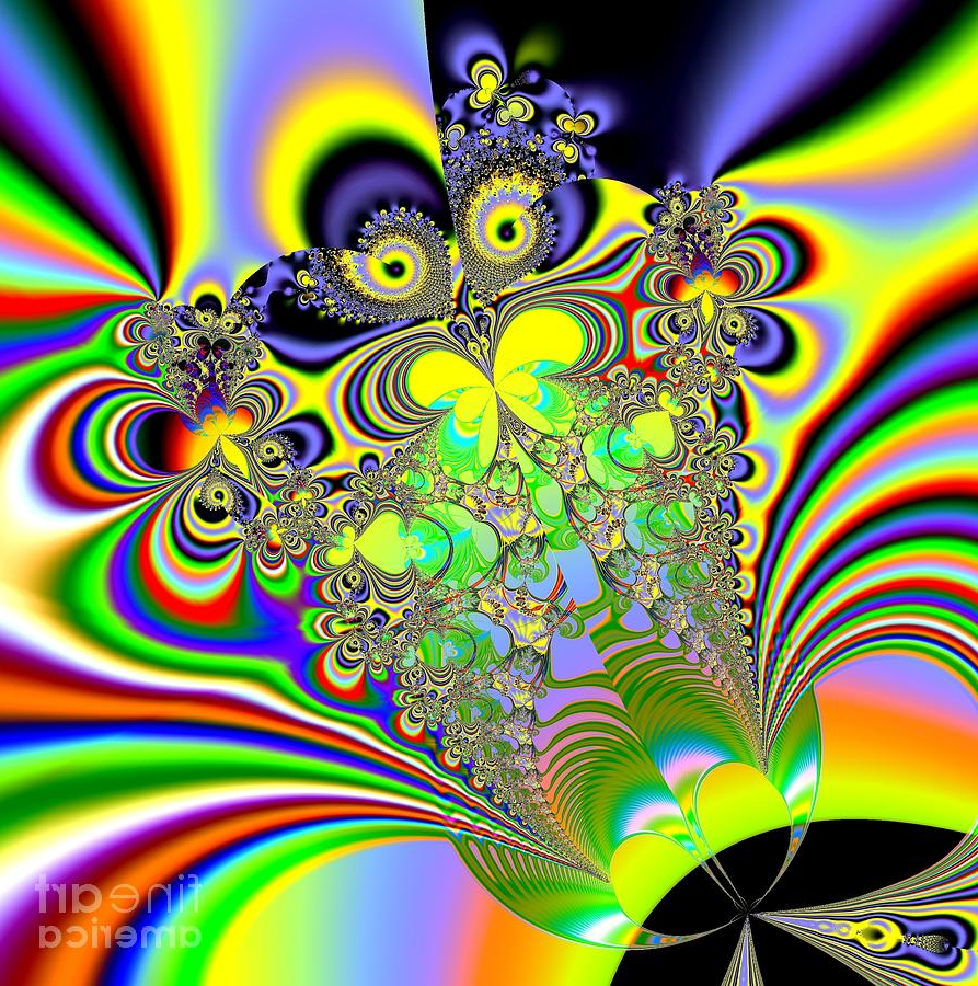 Rainbow Butterfly Bouquet Fractal Abstractrose Santuci Sofranko Intended For Trendy Multicolored Butterfly Bouquet Wall Décor (View 18 of 20)