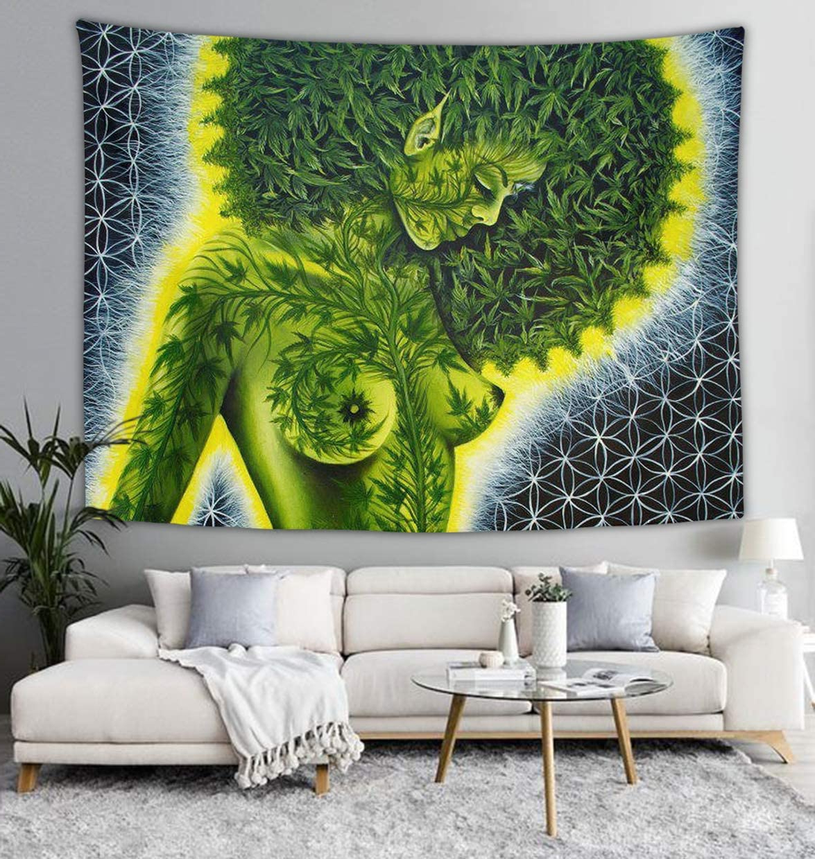 Recent Blended Fabric Leaf Wall Hangings With Beauty Green Marijuana Weed Leaf Wall Tapestry Hippie Art Tapestry Wall Hanging Home Decor Extra Large Tablecloths 40x60 Inches For Bedroom Living (View 14 of 20)
