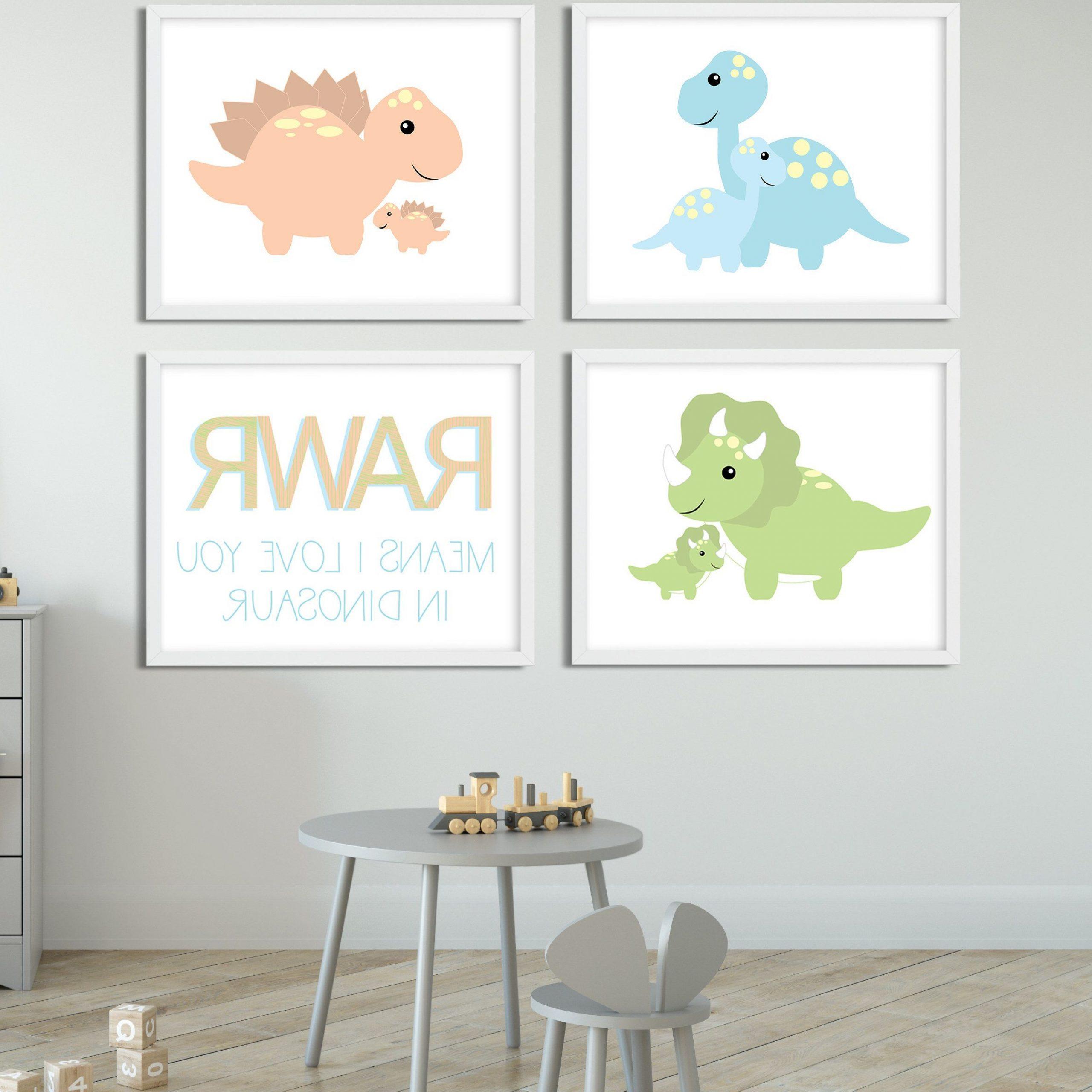 Recent Blended Fabric Mod Dinosaur 3 Piece Wall Hangings Set For Dinosaur Nursery Dinosaur Art Dinosaur Nursery Ideas (View 13 of 20)