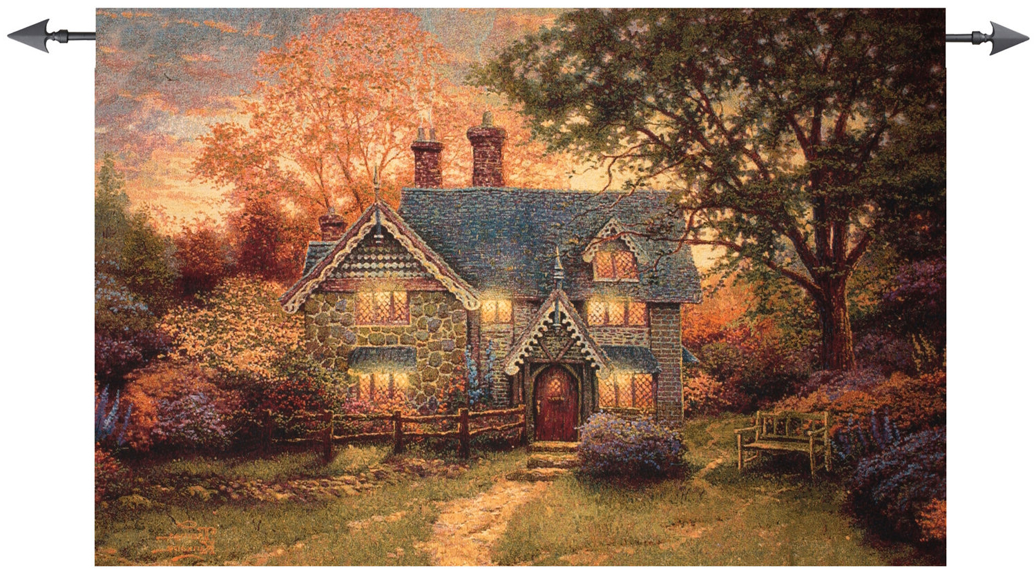 Recent Cottage Tapestry Regarding Blended Fabric Autumn Tranquility Verse Wall Hangings (View 3 of 20)
