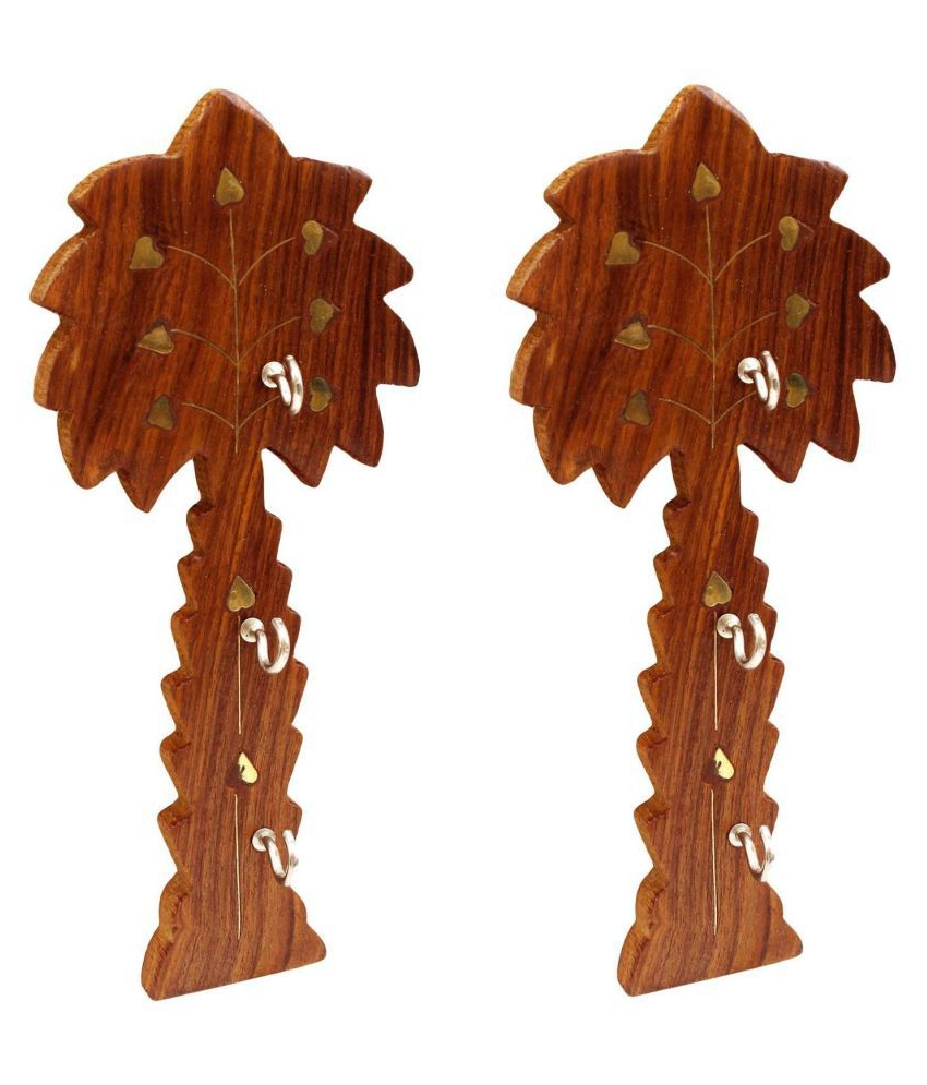 Recent Desi Karigar Handmade Wooden Key Hanger Holder Wall Décor Regarding Key Wall Décor (set Of 2) (View 7 of 20)