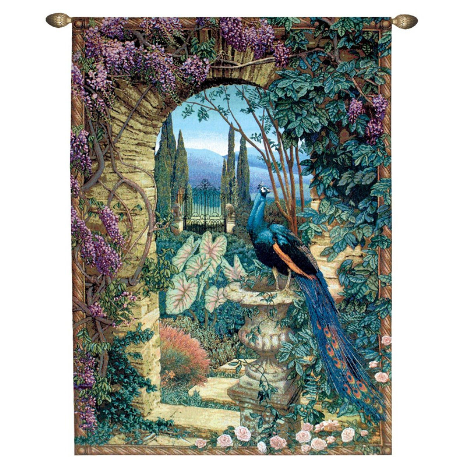 Recent Design Toscano The Peacock's Garden Wall Tapestry: Grand – Walmart Pertaining To Blended Fabric Peacock European Tapestries (View 7 of 20)