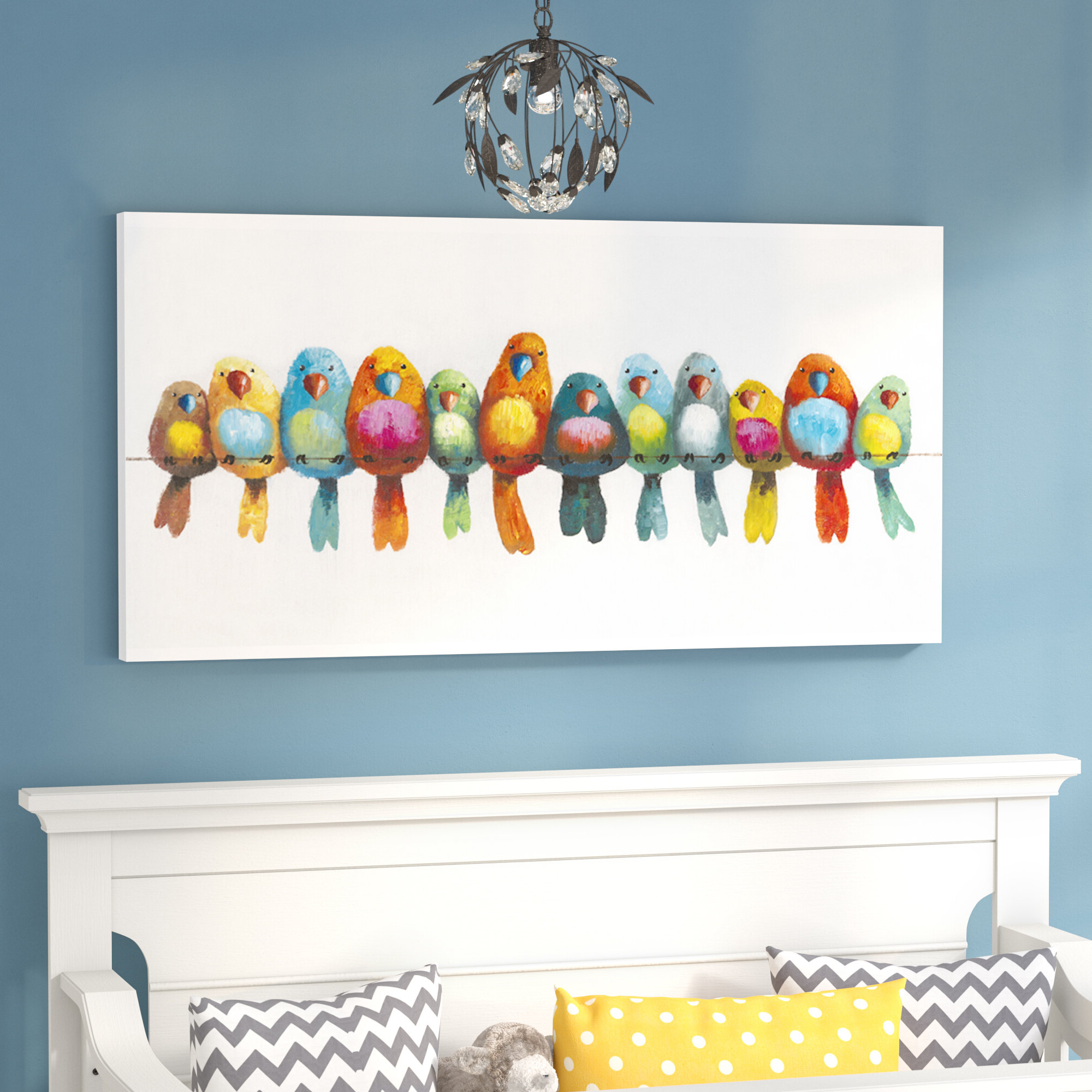 Recent Edyth Wood And Metal Wall Décor With 'birds On A Wire I' – Wrapped Canvas Painting Print (View 11 of 20)