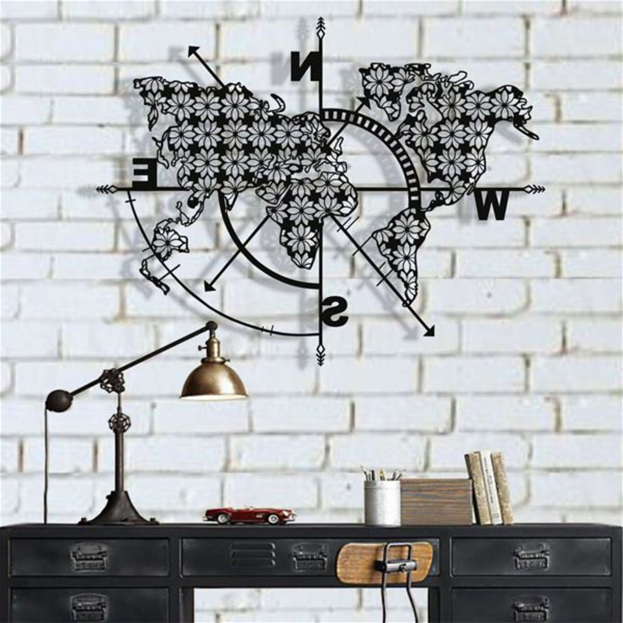 Recent Metal World Map Compass Flowers Wall Décor In Olive/gray Metal Wall Decor By Brayden Studio (View 12 of 20)