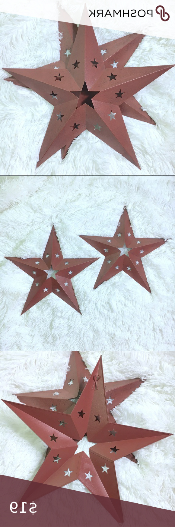 "Red Metal Barn Stars Set Of 2 15""x15"" Star Decor Red Metal In Preferred Barn Star Wall Décor (set Of 2) (View 9 of 20)"