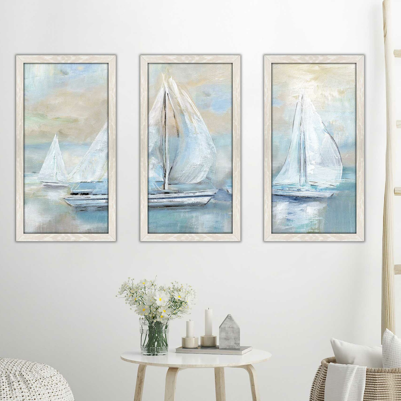 'sail Afar' Acrylic Painting Print Multi Piece Image In Blue/beige Regarding Newest Swallows Wall Decor (set Of 6) By Highland Dunes (View 3 of 20)