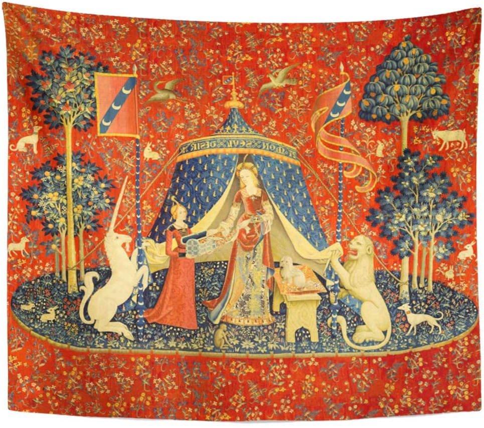 Semtomn Tapestry Artwork Wall Hanging Doodlefly Lady And The Unicorn Medieval Middle Ages Medievel 60x80 Inches Home Decor Tapestries Mattress Regarding Well Liked Blended Fabric Unicorn Captive And Unicorn Hunt Wall Hangings (View 11 of 20)