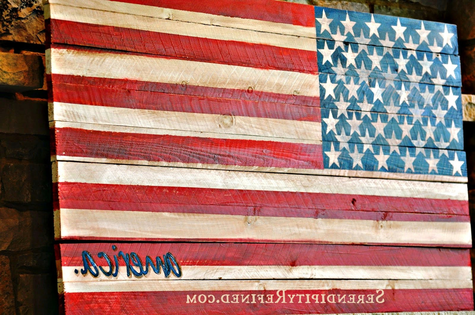 Serendipity Refined Blog: Pallet Wood Fence Board American Throughout Popular Letter Wooden Nautical Alphabet Flag Wall Décor (View 19 of 20)