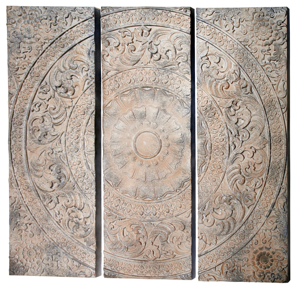 Set Of 3 Stone Gray Carved Wood Wall Decor Panels W/ Radial Acanthus Carvings For Fashionable 3 Piece Carved Ornate Wall Décor Set (View 11 of 20)