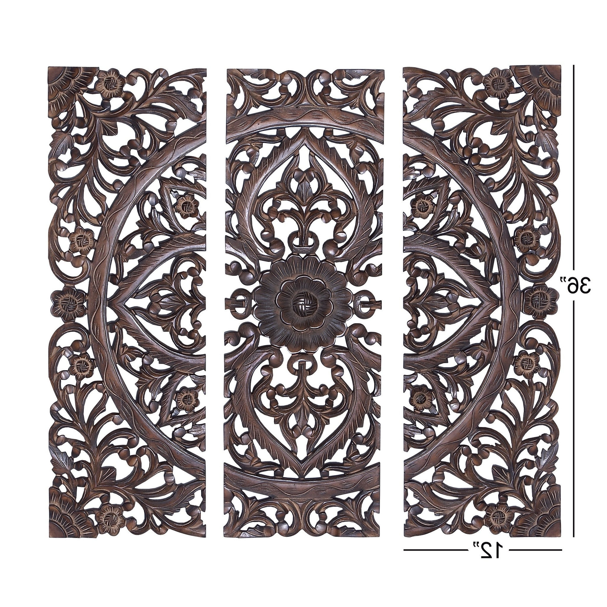 Set Of 3 Traditional 36 Inch Wooden Triptych Wall Panelsstudio 350 Throughout Most Recently Released Melina Metal Medallion Wall Décor (set Of 4) (View 5 of 20)