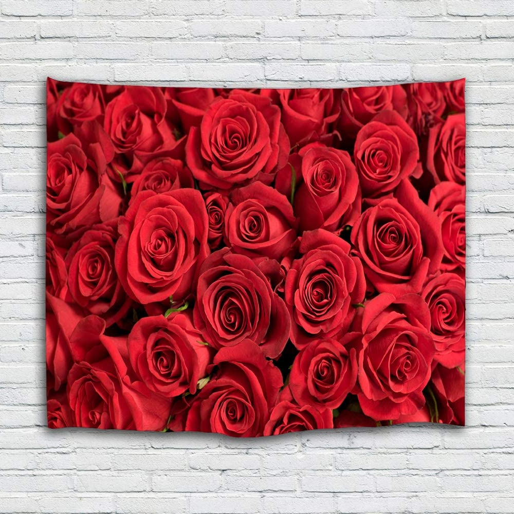 Sevendec Rose Tapestry Wall Hanging Red Flower Wall Tapestry Nature Elegant For Livingroom Bedroom Dorm Home Decor W90 X L71 Pertaining To Fashionable Roses I Tapestries (View 2 of 20)
