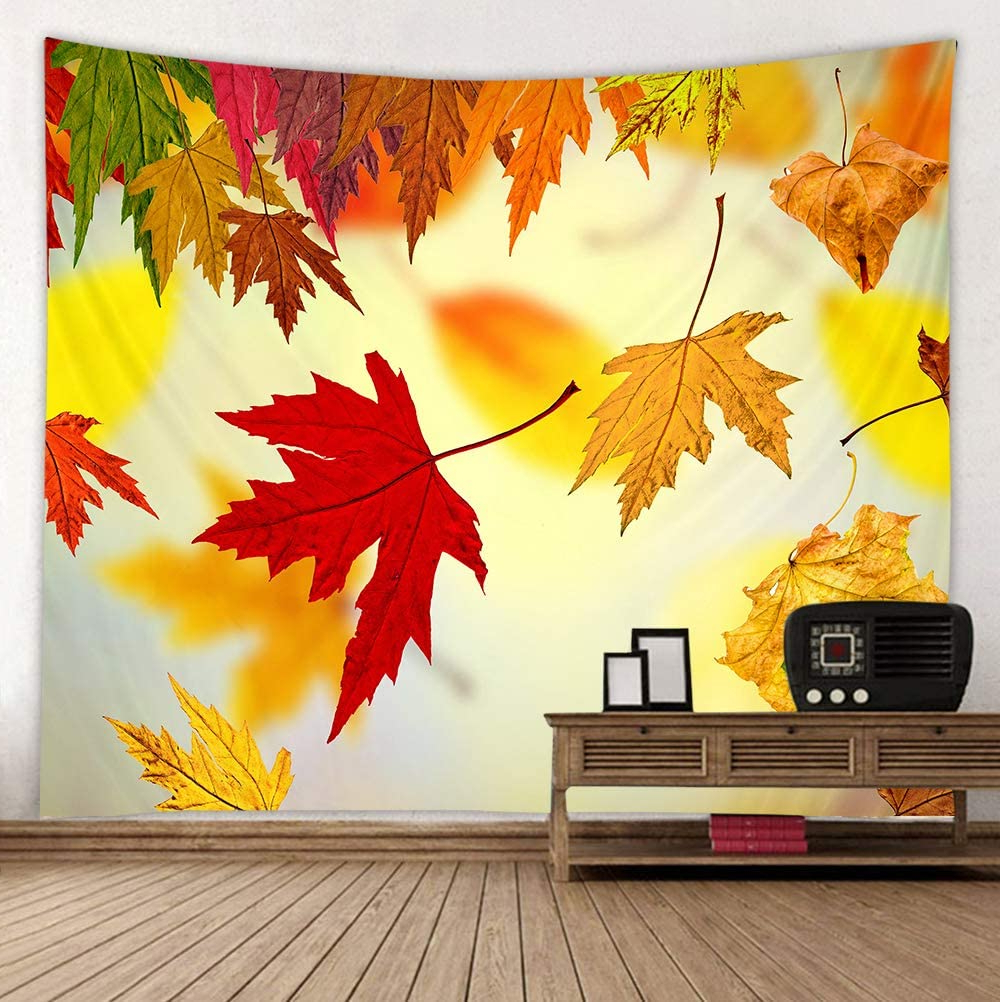 Shinesnow Autumn Golden Tree Maple Fall Wall Hanging Tapestry 60 X 51 Inches, Falling Leaves Seasonal Scenery House Decor Bedroom Living Room Dorm Regarding Newest Blended Fabric Leaf Wall Hangings (View 16 of 20)