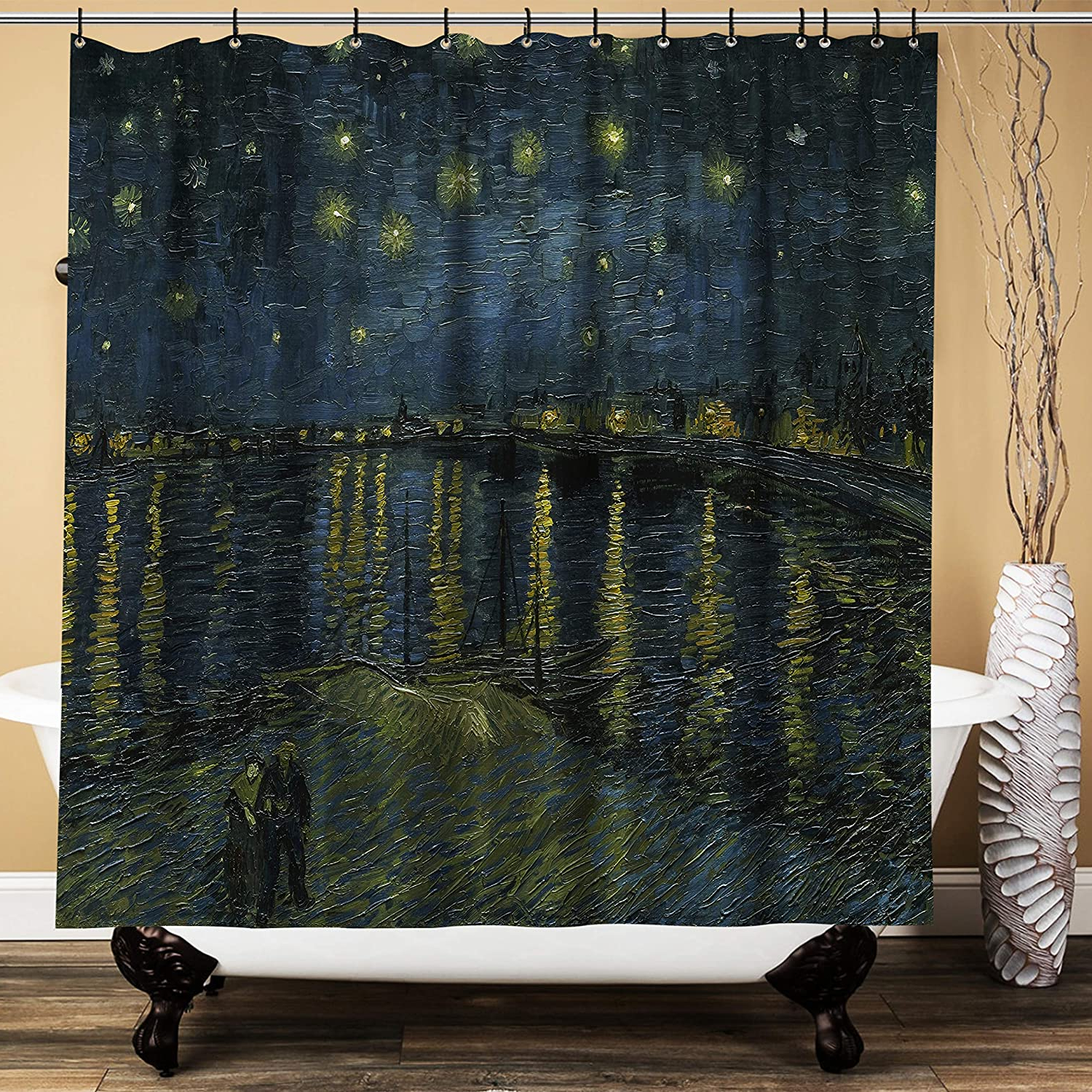 Spanker Space Artistic Van Gogh Starry Night Over The Rhone Aesthetic Oil Painting Waterproof Fabric Bath Shower Curtain 71x71 Inches With Hooks For Within Well Known Blended Fabric Van Gogh Starry Night Over The Rhone Wall Hangings (View 11 of 20)