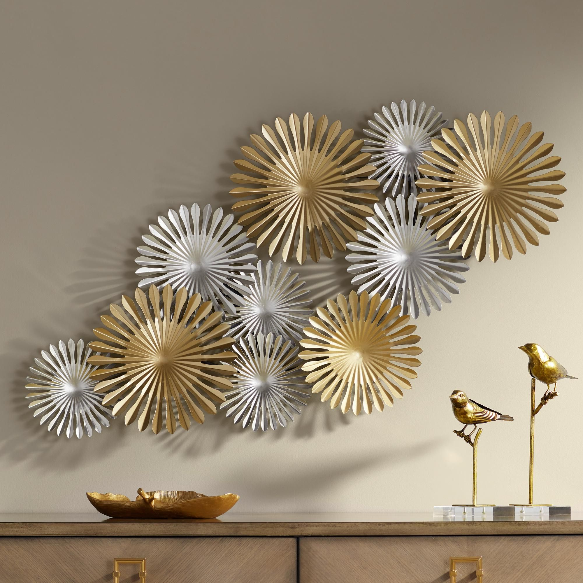 """Sparks 45"""" Wide Gold And Silver Metal Wall Art Is One Pertaining To Trendy 2 Piece Starburst Wall Décor Set By Wrought Studio (View 8 of 20)"""