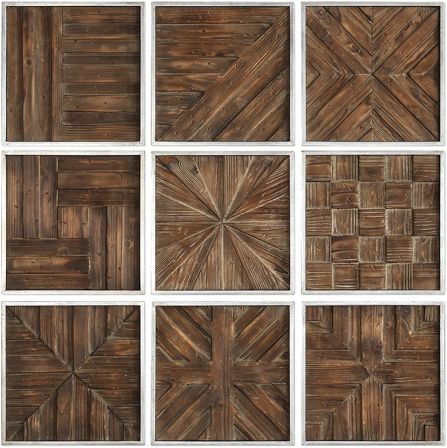 """Square Wood Wall Décor For Well Known Amazon: Uttermost Bryndle 12 1/2"""" Square 9 Piece Wood (View 11 of 20)"""