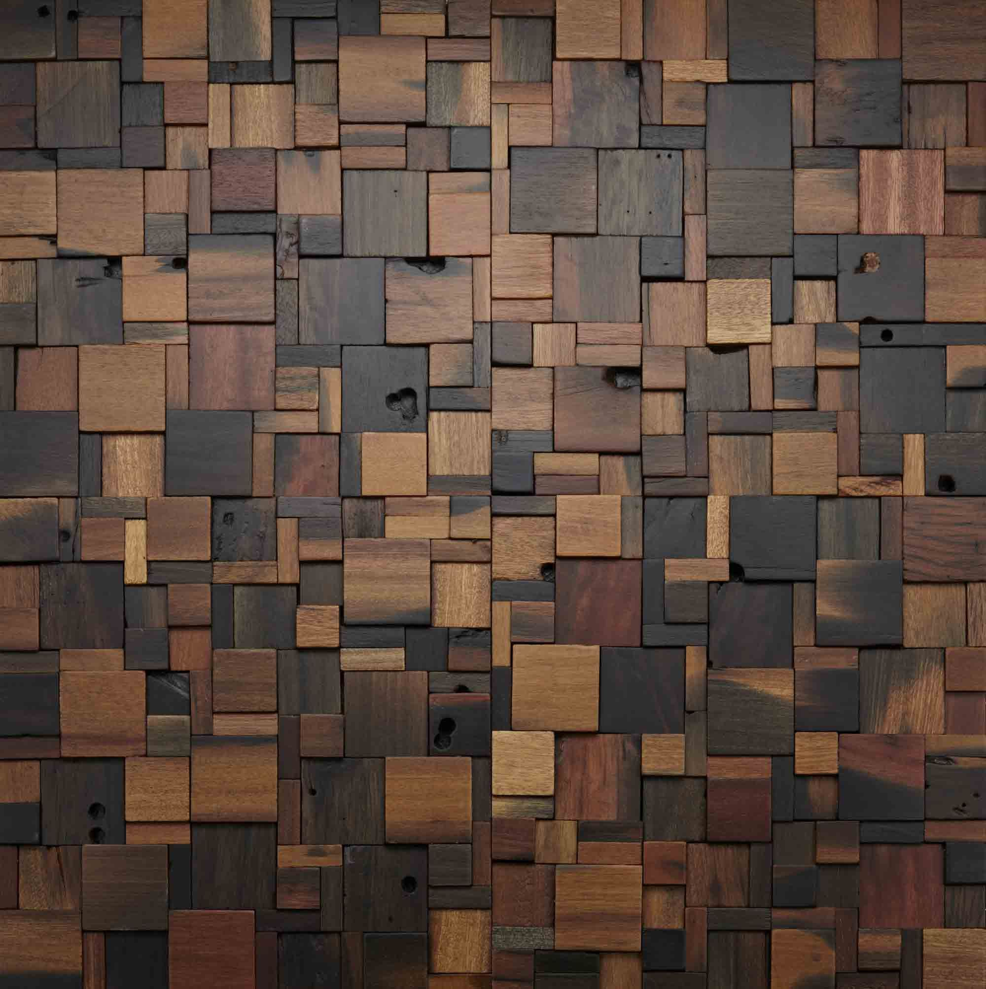 Square Wood Wall Décor In Most Popular Stacked Square Wood Wall Design #woodwall #walldesign (View 5 of 20)
