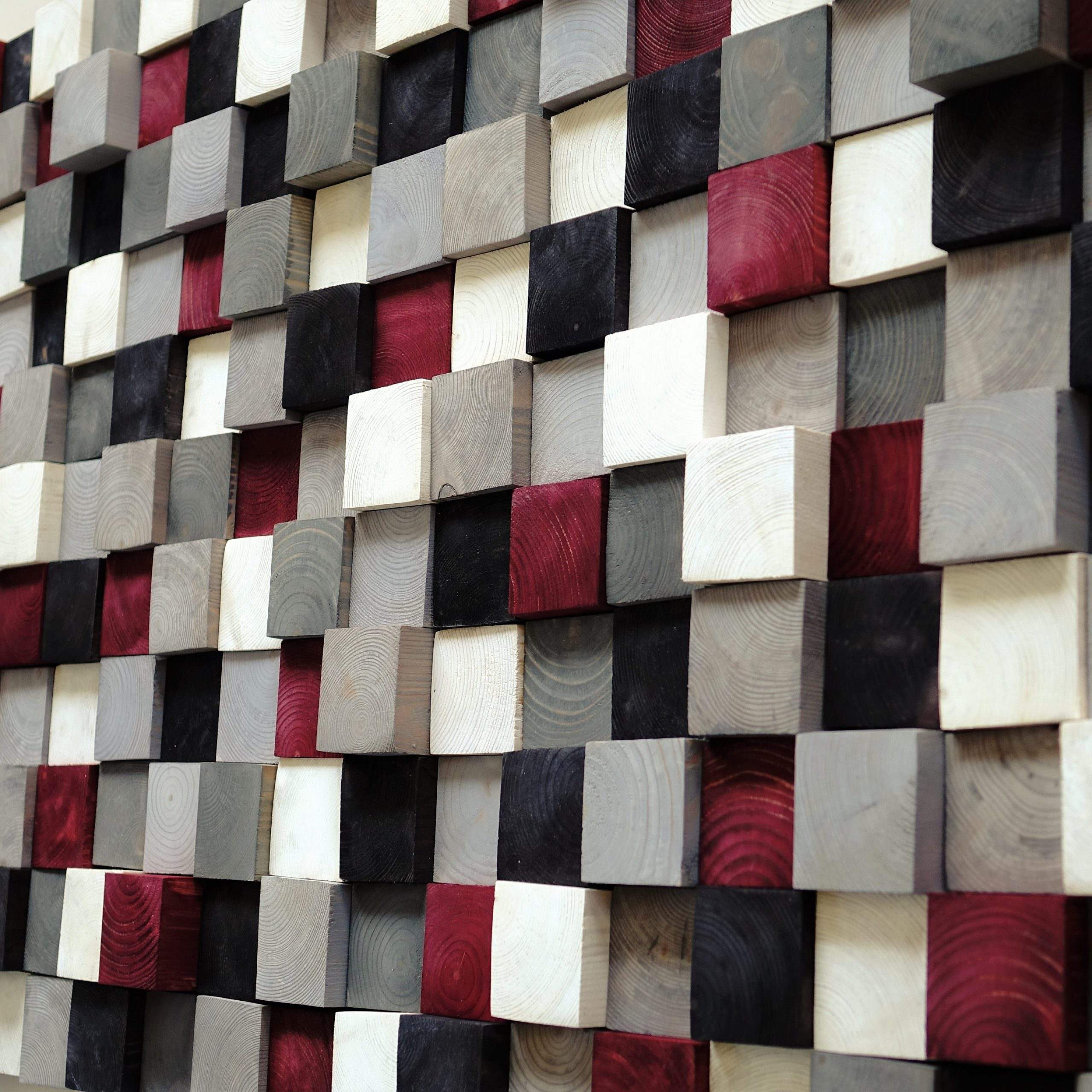 Square Wood Wall Décor Throughout Newest Usa Only, Modern Wood Wall Art, Hand Painted Pine Squares (View 18 of 20)