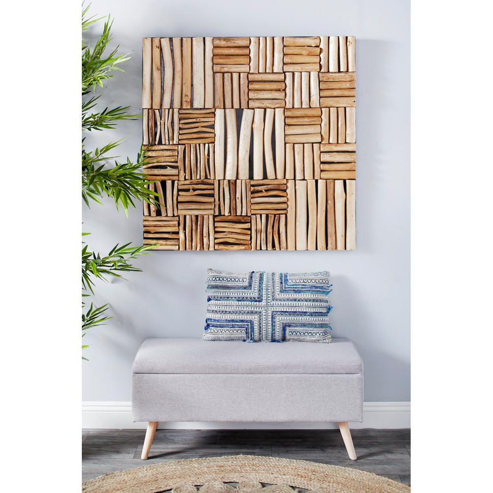 Square Wood Wall Décor Within Latest Litton Lane Large Square Handmade Reclaimed Teak Wood Wall Art 57272 – The Home Depot (View 9 of 20)
