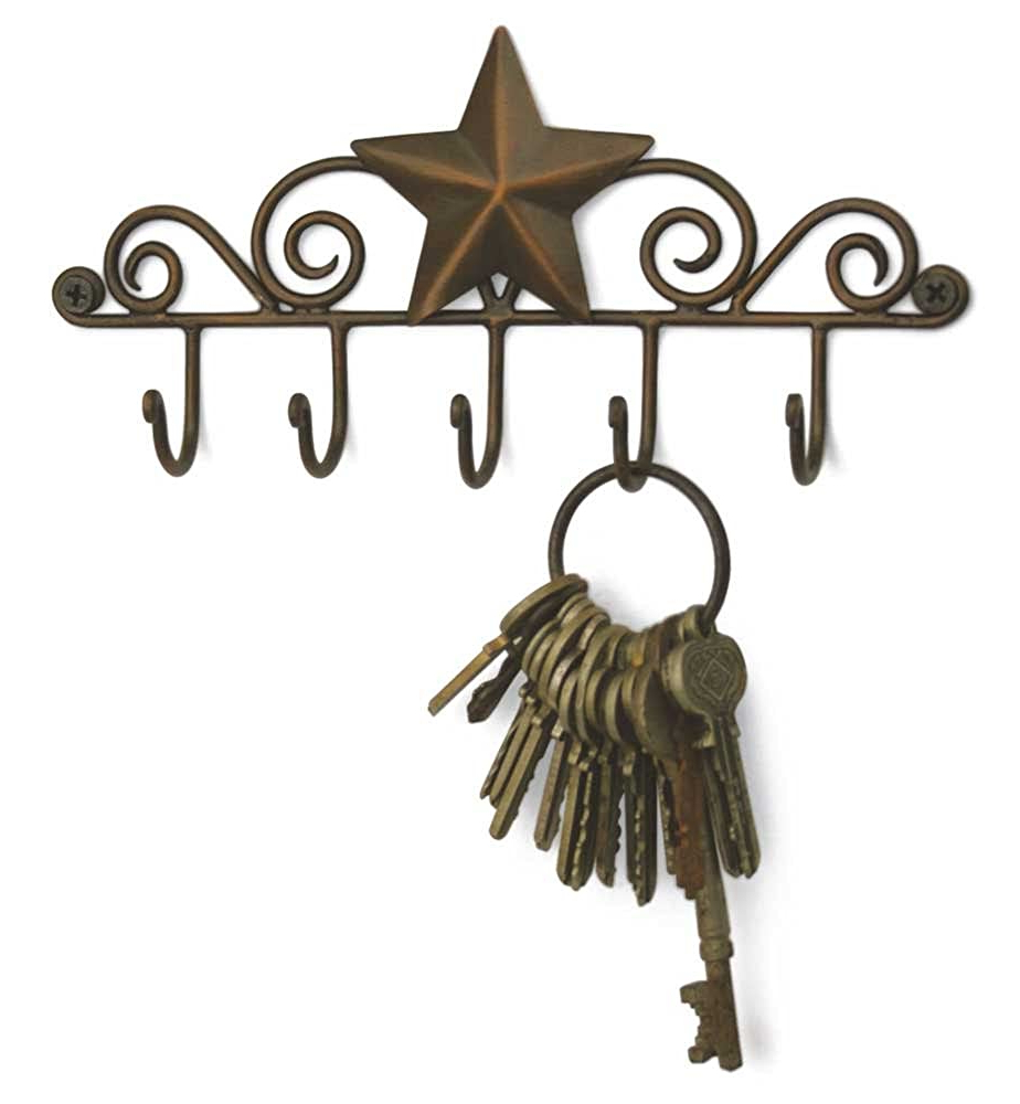 Star Key Rack Exclusive Key Holder Wall Organizer Aged Intended For Most Current Copper Rustic Iron Wall Décor (View 12 of 20)