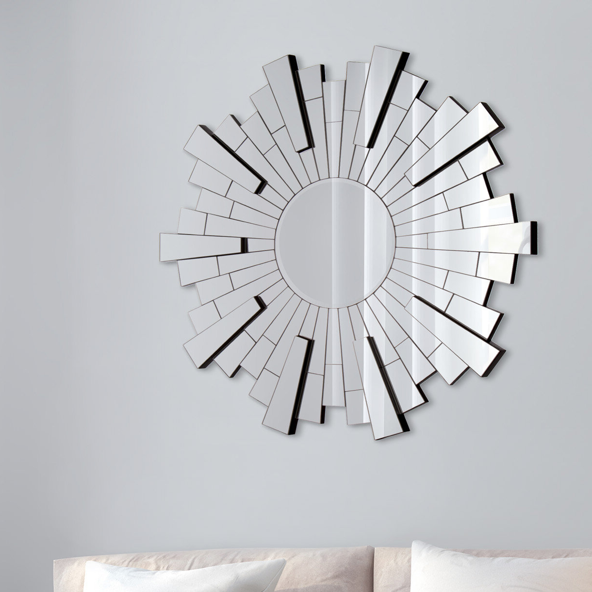 Starburst Wall Décor By Wrought Studio Regarding Preferred Henriques Silver Starburst Wall Mounted Beveled Venetian Accent Mirror (View 9 of 20)