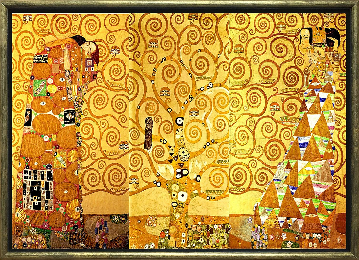 Startonight Luxury Framed Art Gold Gustav Klimt Tree Of Life 1905 Reproduction Dual View Surprise 19.69 Inch (View 17 of 20)
