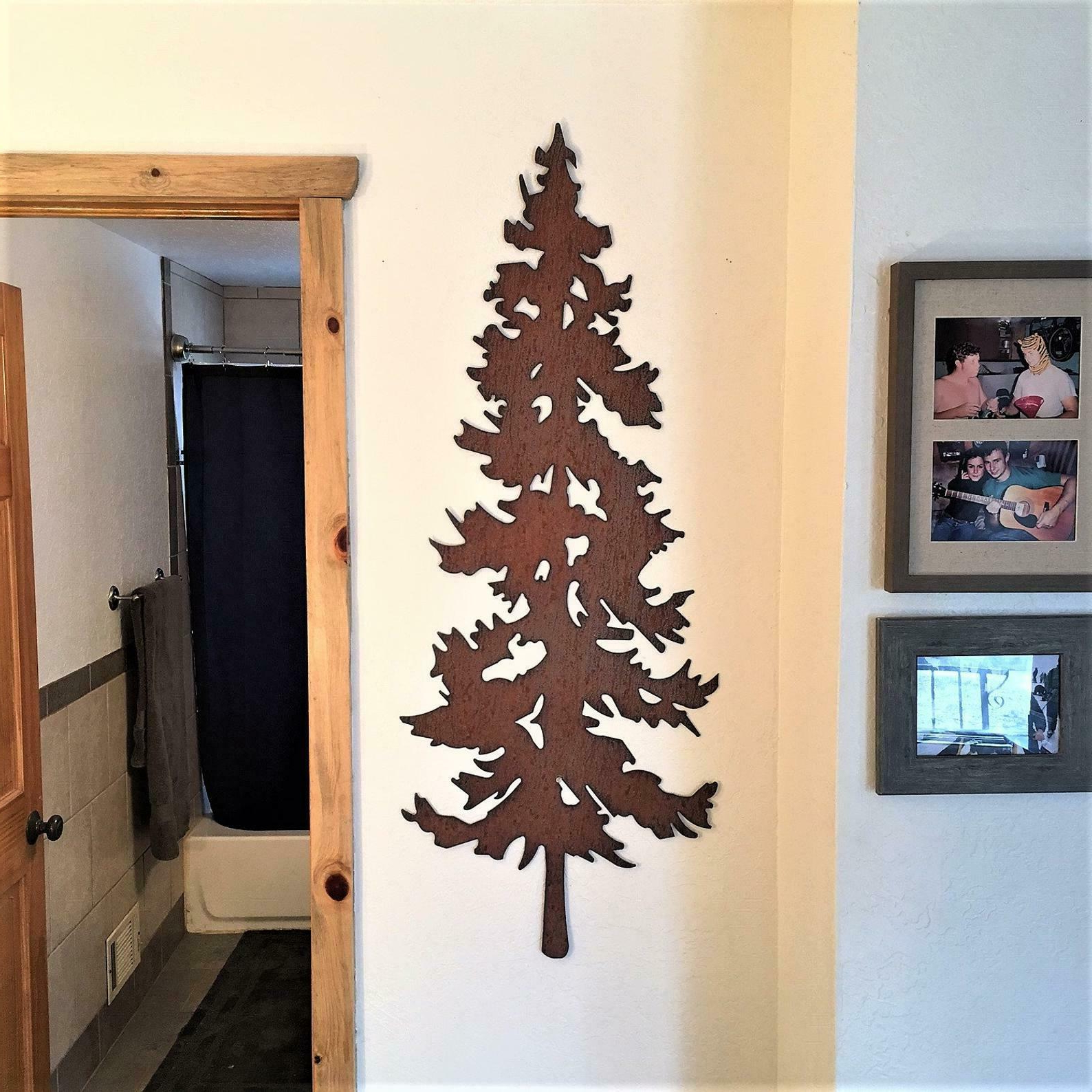 Steel Evergreen Tree Metal Wall Art Brown Copper Leaves Rustic Nature Home Decor Within Well Liked Copper Rustic Iron Wall Décor (View 18 of 20)