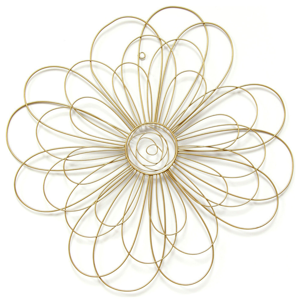 Stratton Home Decor Gold Wire Flower Wall Decor Throughout 2019 Rings Wall Décor By Stratton Home Decor (View 18 of 20)