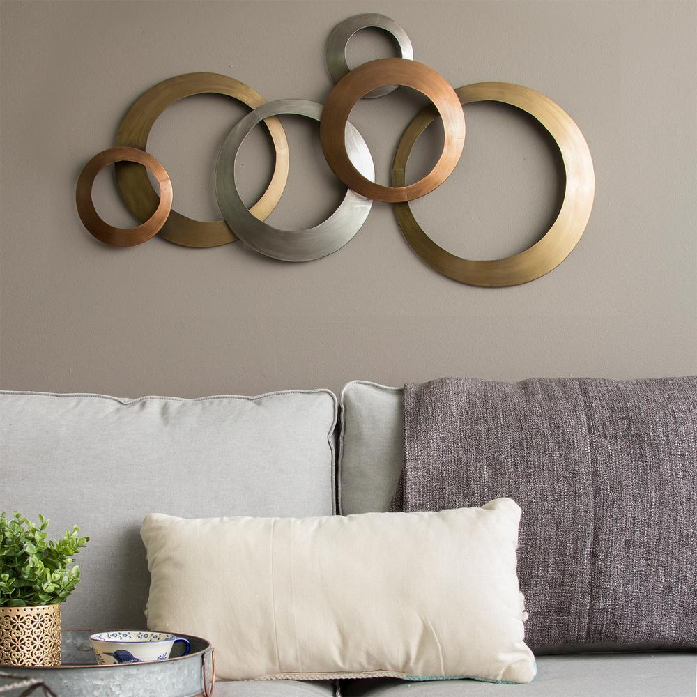 Stratton Home Decor Multi Metallic Rings Metal Wall Decor S09602 – The Home Depot Intended For Popular Rings Wall Décor (View 6 of 20)