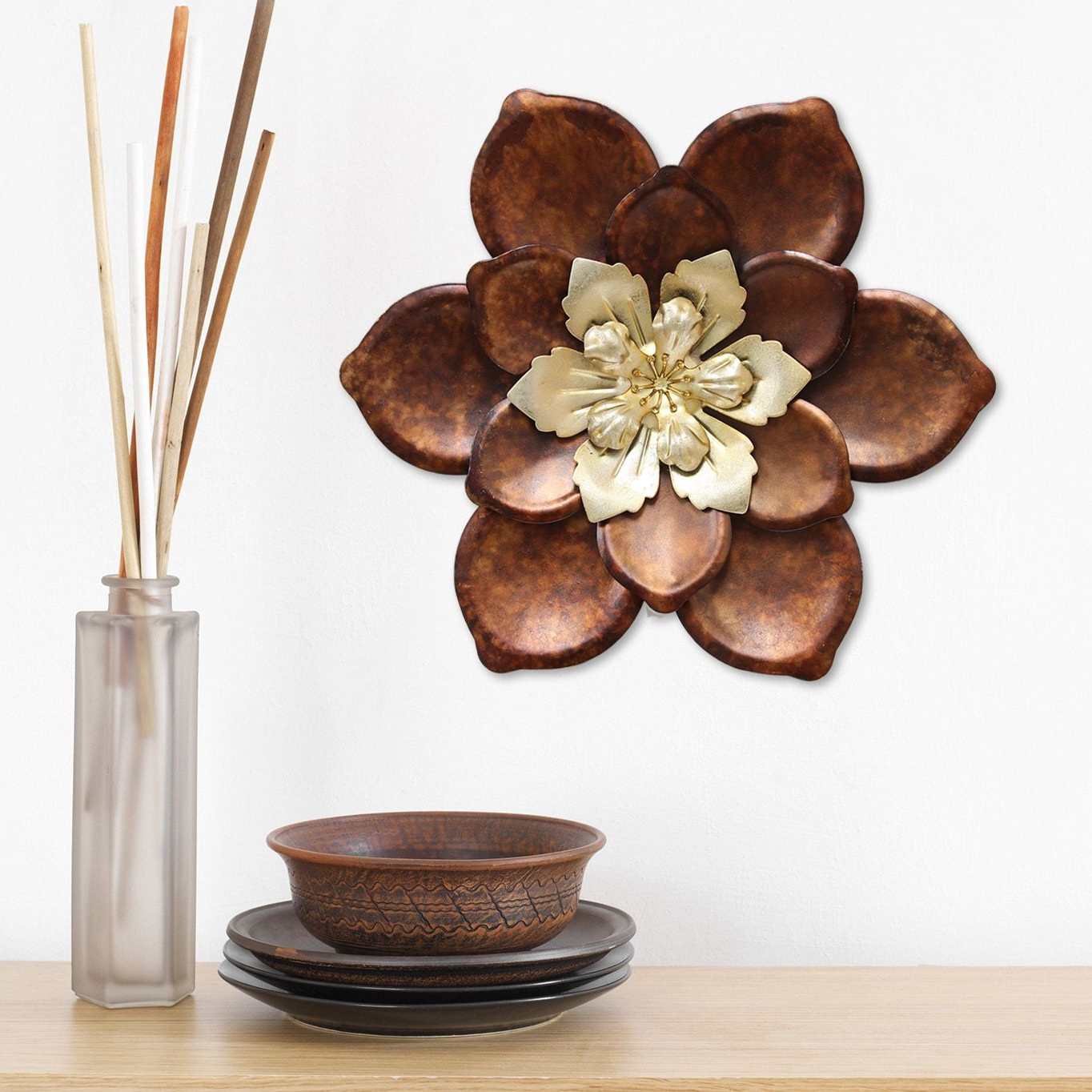 Stratton Home Decor Whimsical Bronze Flower Metal Wall Décor In Current Whimsical Flower Wall Décor (View 3 of 20)