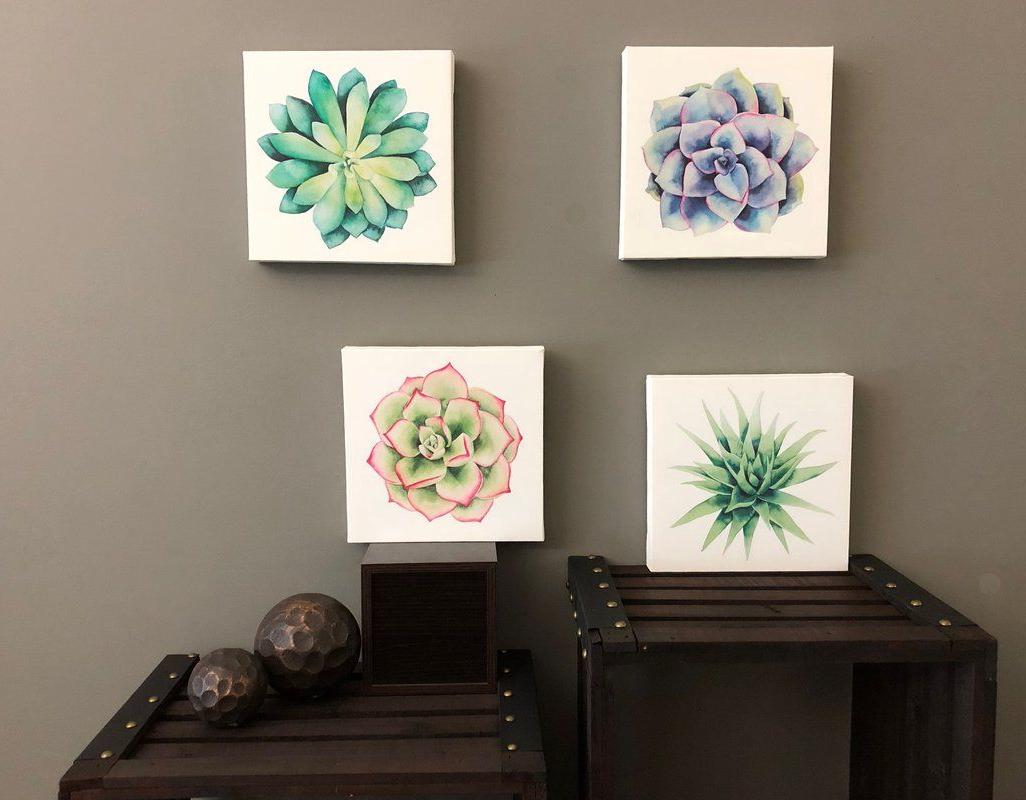 Succulents' 4 Piece Print Set On Canvas (View 20 of 20)