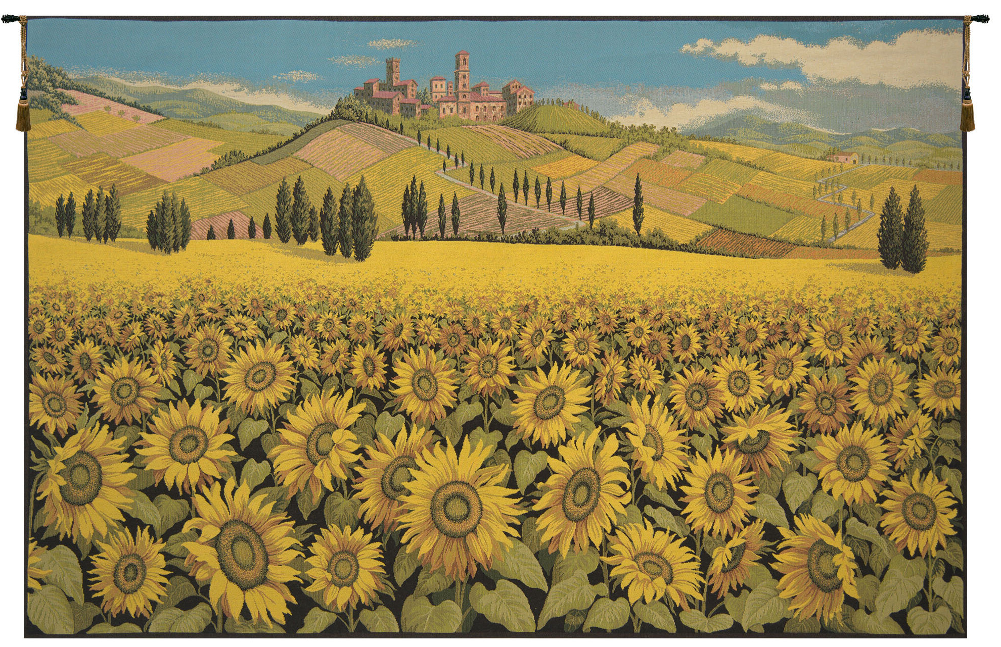 Sunflower Landscape Wall Hanging Pertaining To Well Known Blended Fabric Crocifissione Wall Hangings (View 6 of 20)
