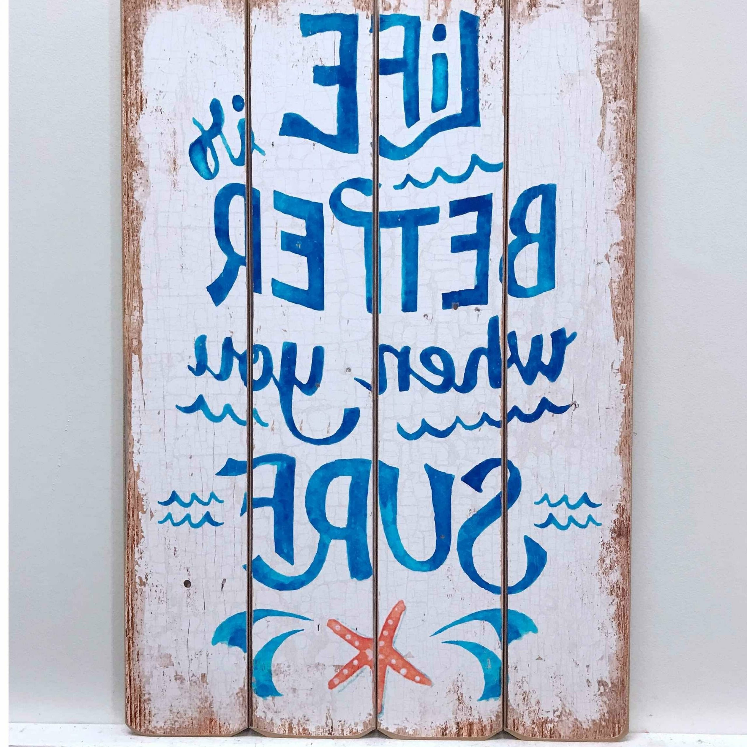 Surf And Life Wooden Sign Wall Décor Throughout Most Popular Family Wood Wall Décor By Highland Dunes (View 20 of 20)
