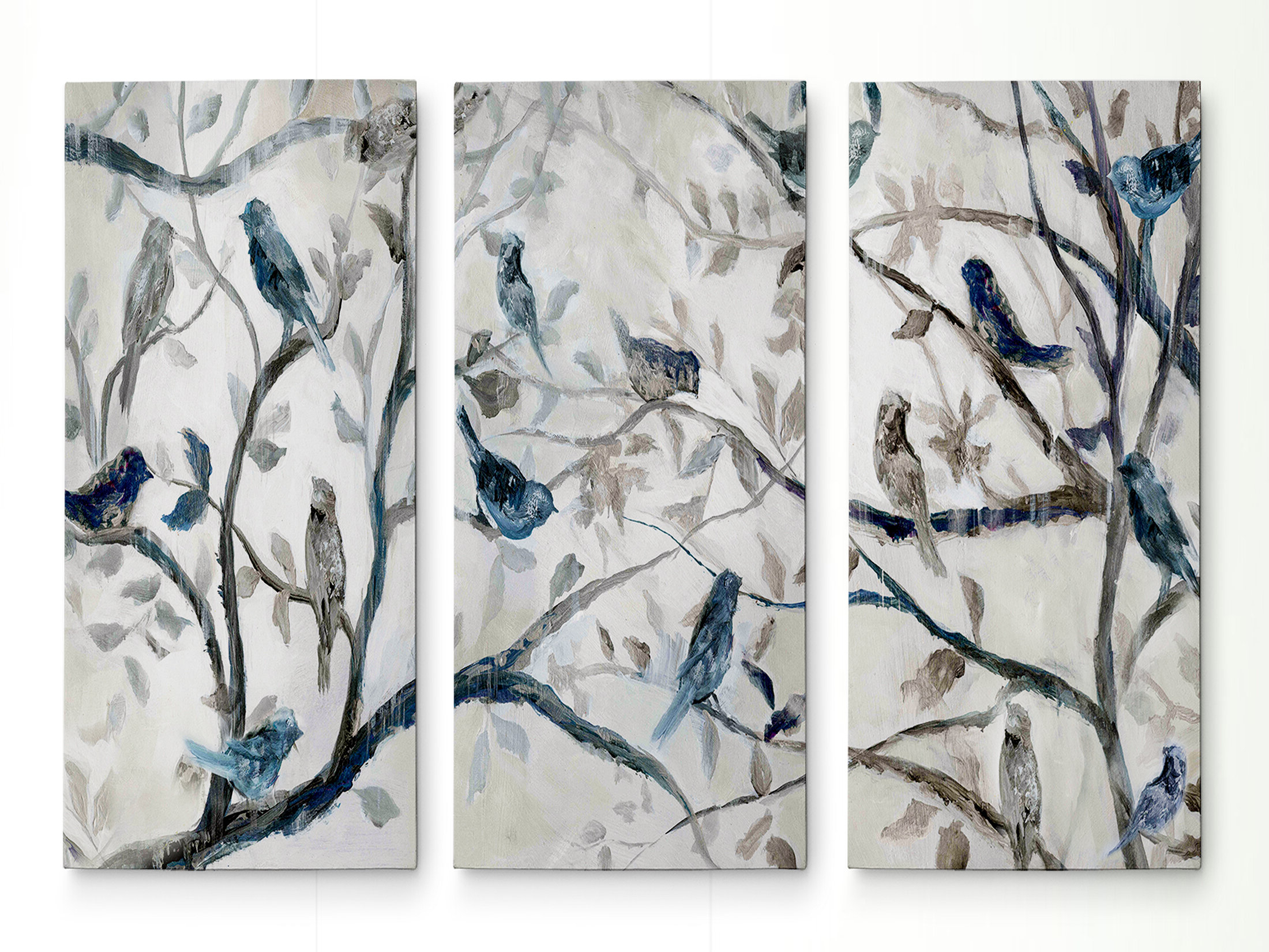 Swallows Wall Decor (set Of 6) By Highland Dunes Pertaining To Newest Farmhouse 'gold Bird On Blossoms Iii' Painting Multi Piece Image On Canvas (View 7 of 20)