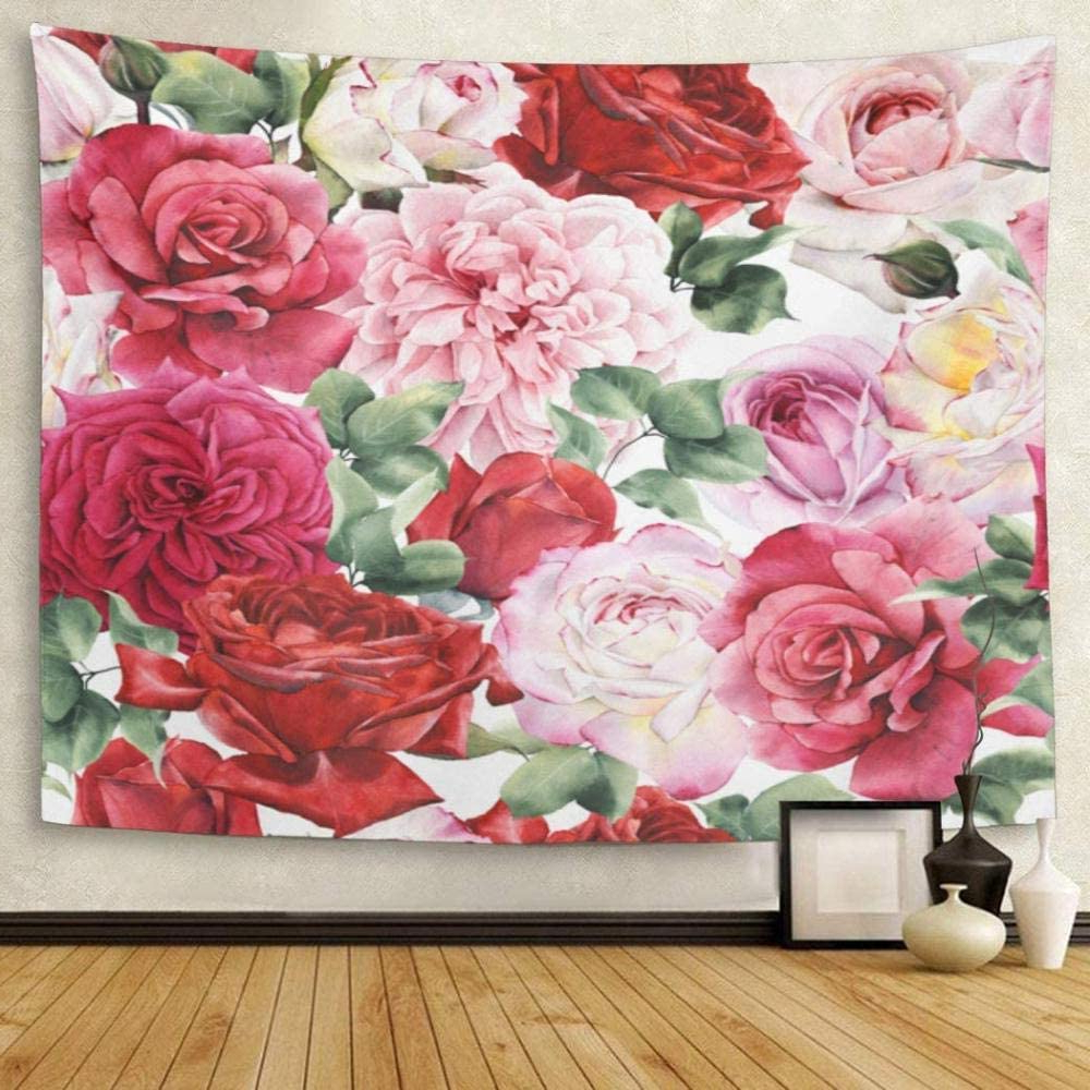 Tapestry Red Flower Floral Pattern With Roses Watercolor With Widely Used Roses I Tapestries (View 5 of 20)