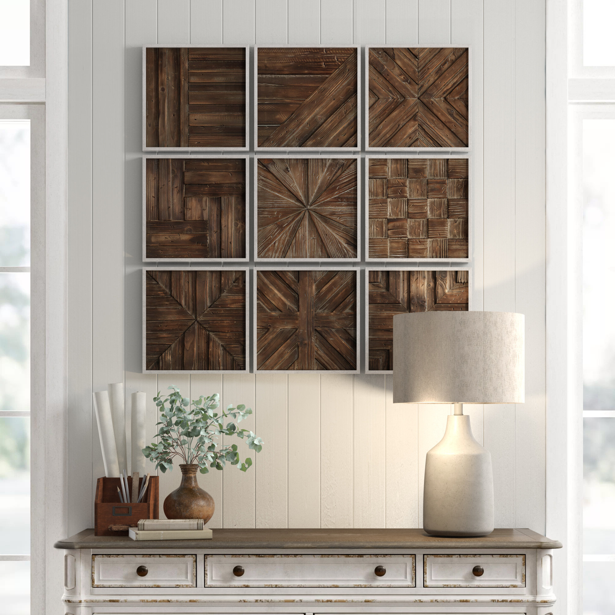 Terence Piece Rustic Wooden Square Wall Décor Set With Famous Square Wood Wall Décor (View 3 of 20)