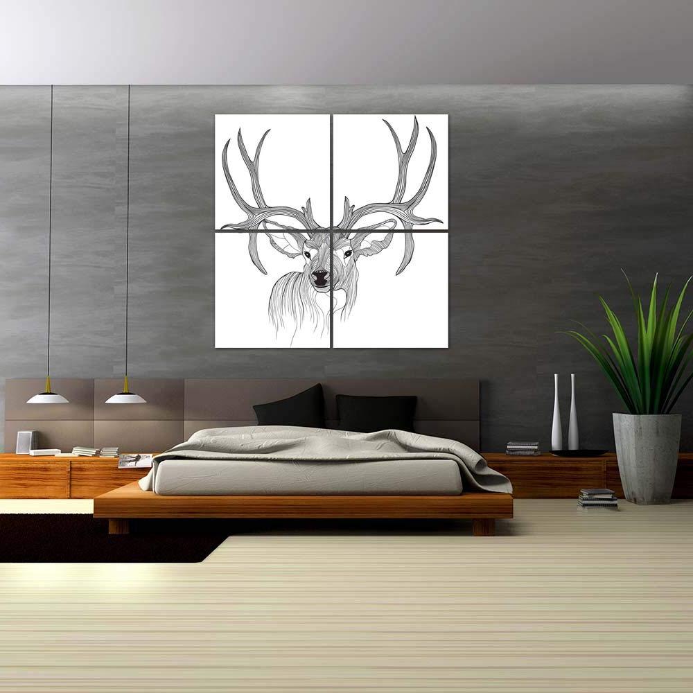 The Frankfurt Deer Head Wall Décor Regarding Popular Artzfolio Deer Head D1 Split Art Painting Panel On Sunboard (View 16 of 20)