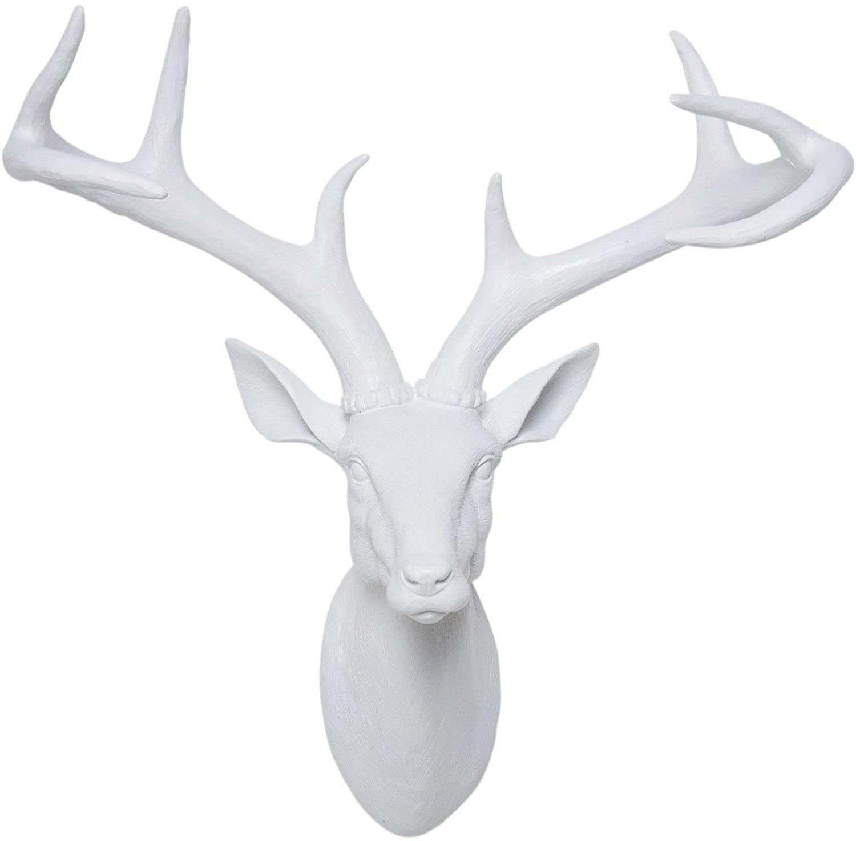 The Frankfurt Deer Head Wall Décor Throughout Recent Kare Decoration Figure Deer Head, White, 45 X 40 X 20 Cm (View 20 of 20)