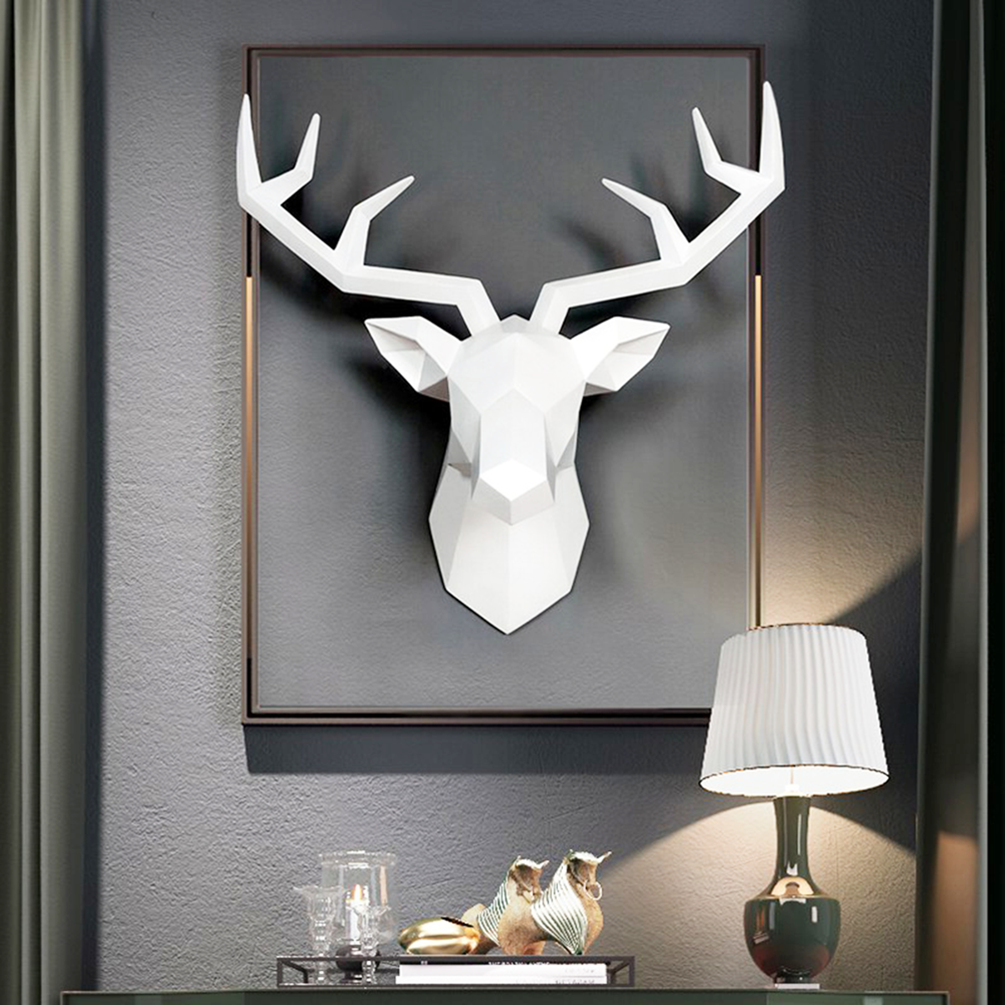 The Frankfurt Deer Head Wall Décor With Latest Deer Head Wall Mount Décor, Wall Hanging Deer Head Statue (View 8 of 20)
