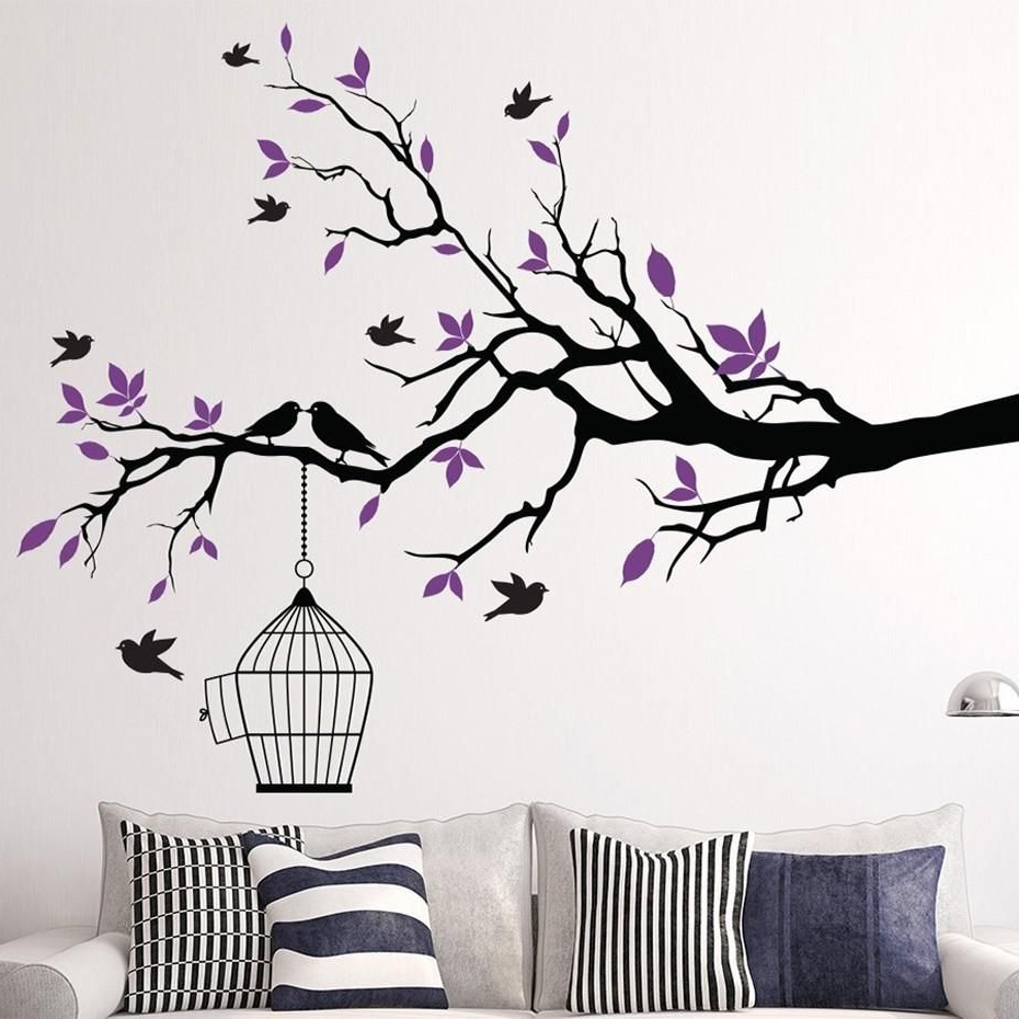 Tree Branch Wall Art Sticker With Bird Cage Removable Vinyl Pertaining To 2019 Tree Branch Wall Décor By Fleur De Lis Living (View 5 of 20)