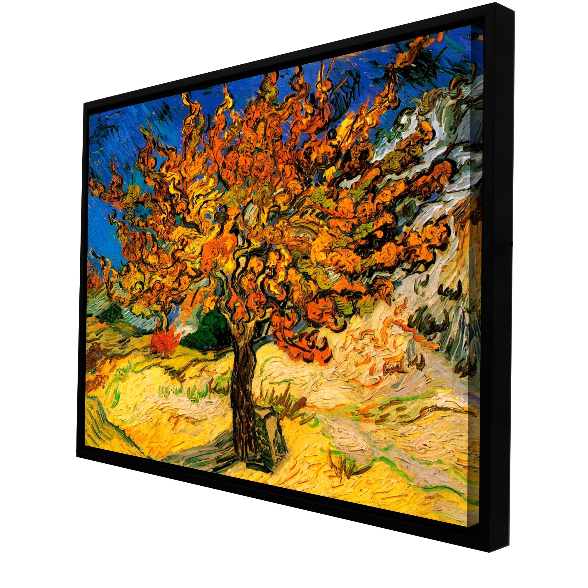 "Trendy Artwall ""mulberry Tree Floater Framed Gallery Wrapped Canvas Intended For Blended Fabric The Mulberry Tree – Van Gogh Wall Hangings (View 14 of 20)"