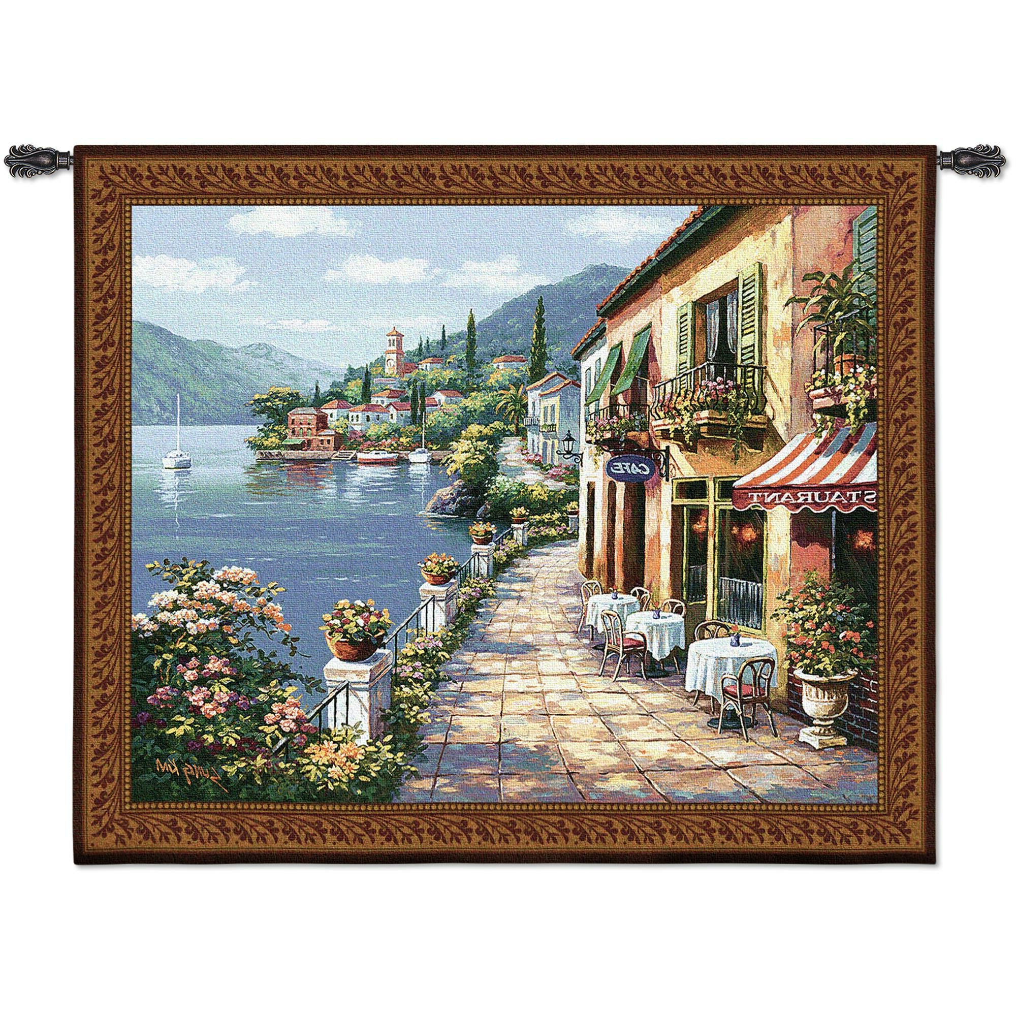 Trendy Blended Fabric Bellagio Scalinata Wall Hangings For Overlook Cafe I Bw Tapestry (View 14 of 20)