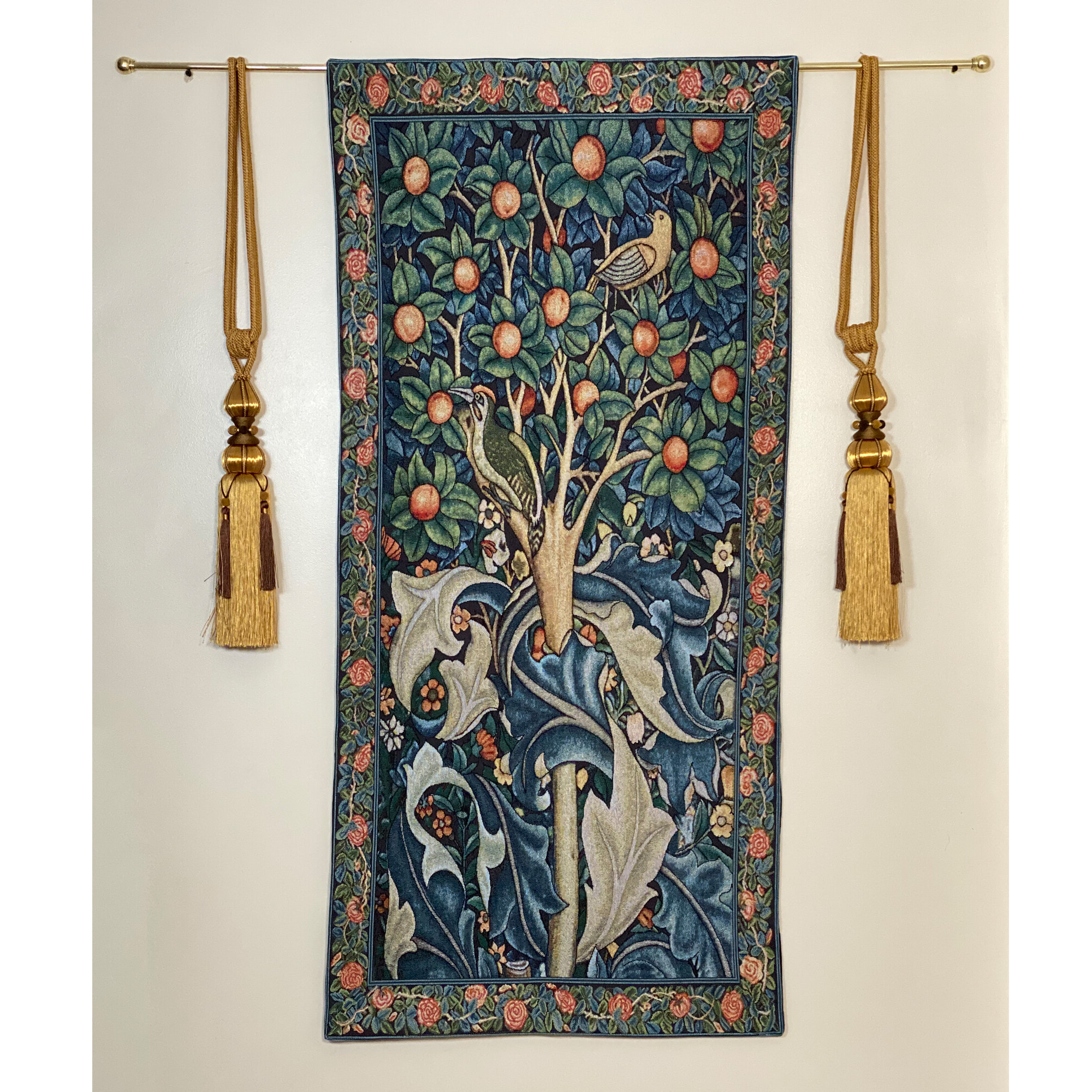 Trendy Blended Fabric Hidden Garden Chinoiserie Wall Hangings With Rod Intended For Cotton William Morris Woodpecker In Fruit Tree Wall Hanging (View 7 of 20)