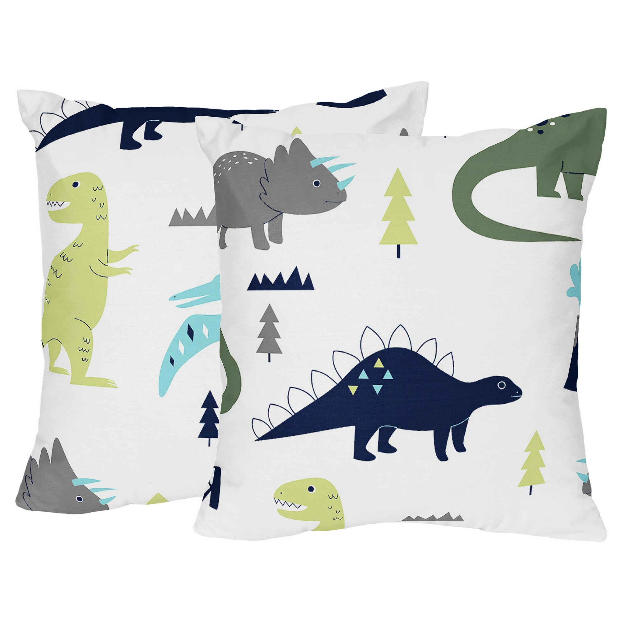 Trendy Blended Fabric Mod Dinosaur 3 Piece Wall Hangings Set With Blue & Green Mod Dinosaur Throw Pillow – Sweet Jojo Designs (View 10 of 20)