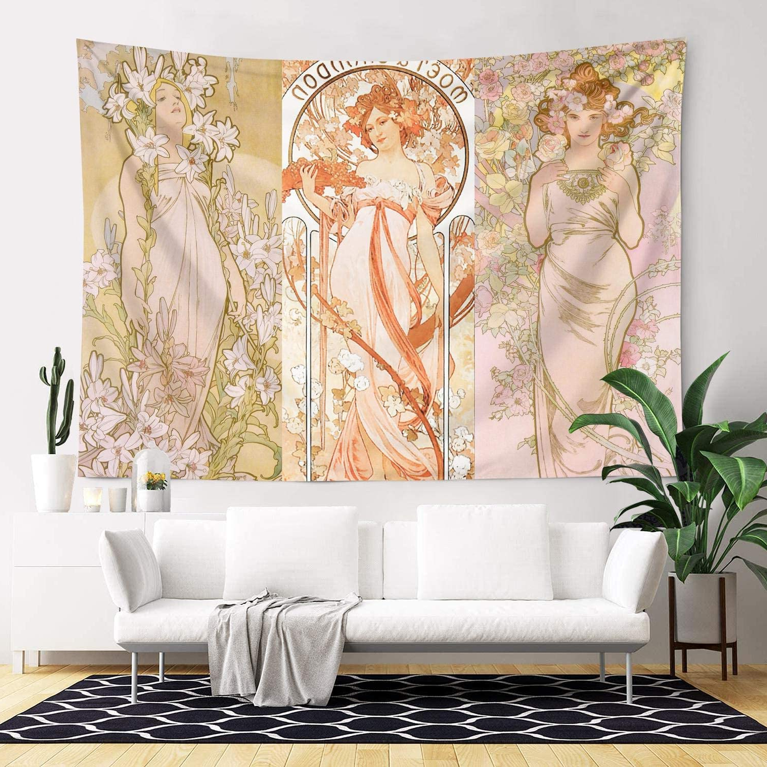 Trendy Blended Fabric Mucha Autumn European Wall Hangings Intended For Art Nouveau Lady Medieval Vintage Tapestries Smooth Beach Blanket For Decoration Windows In 83×60 Inch (View 16 of 20)