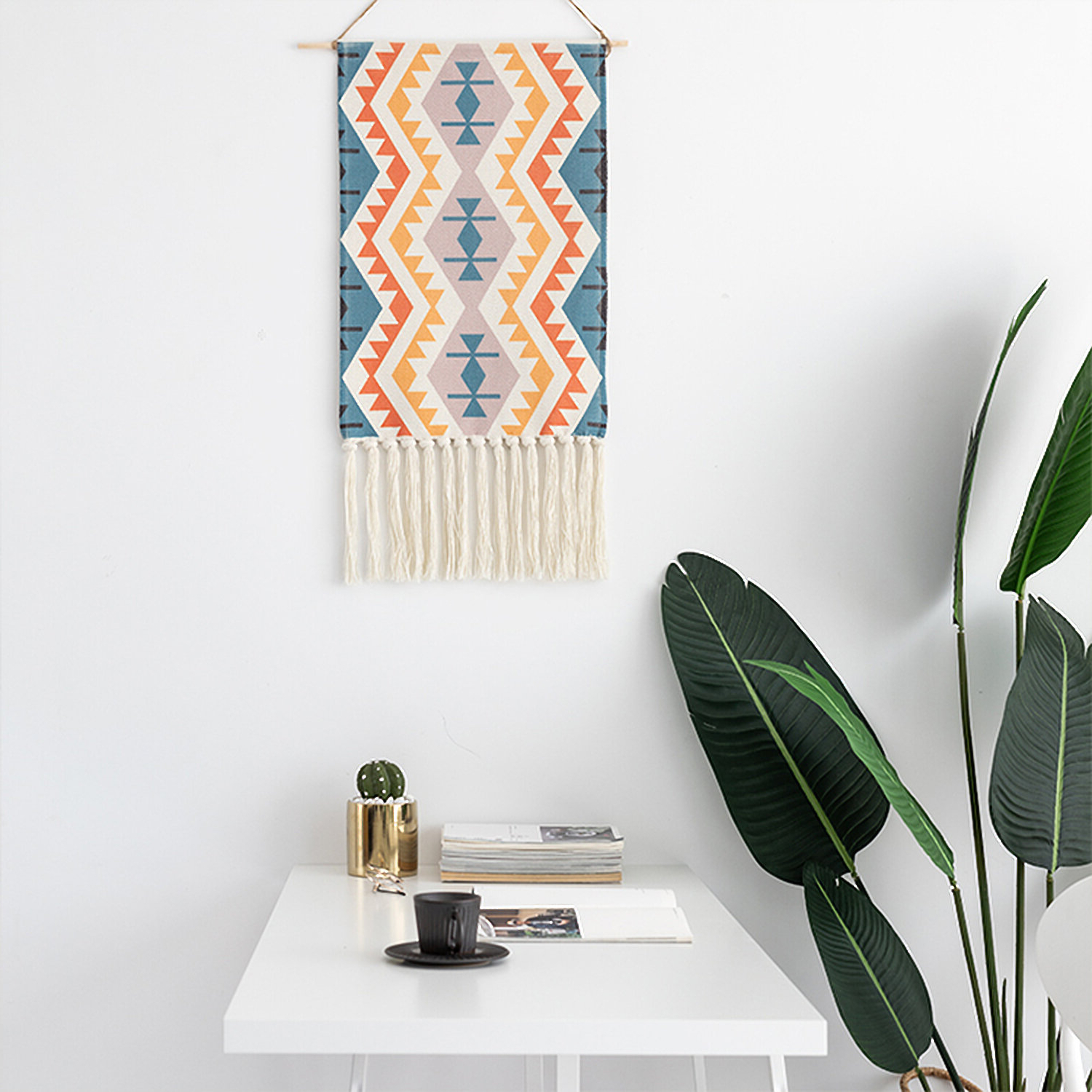 Trendy Blended Fabric Saber Wall Hangings With Rod In Traditional Boho Woven Tapestry Wall Hanging (View 14 of 20)