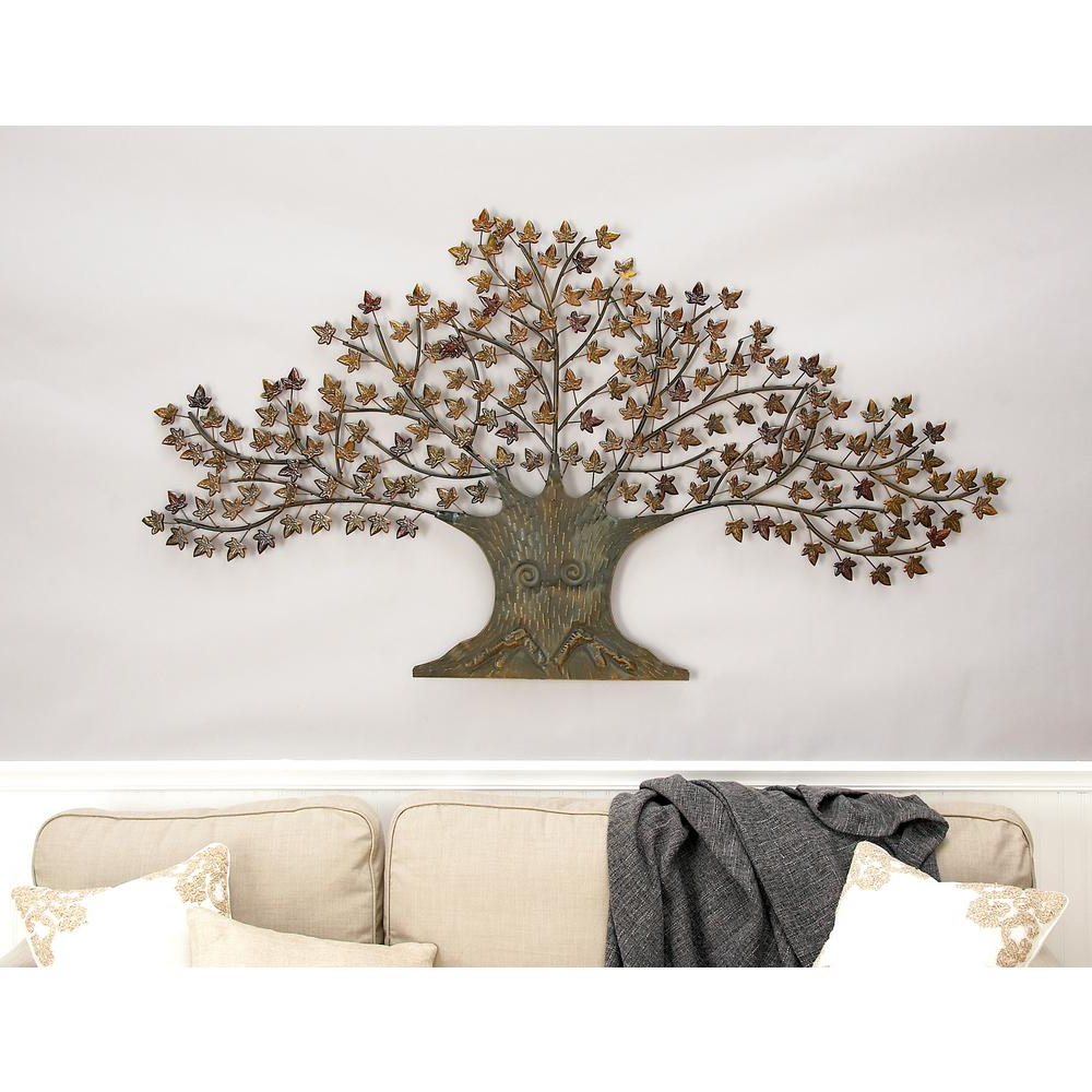 Trendy Copper Rustic Iron Wall Décor In Litton Lane Iron Copper Brown Oak Tree Wall Decor 44530 – The Home Depot (View 11 of 20)